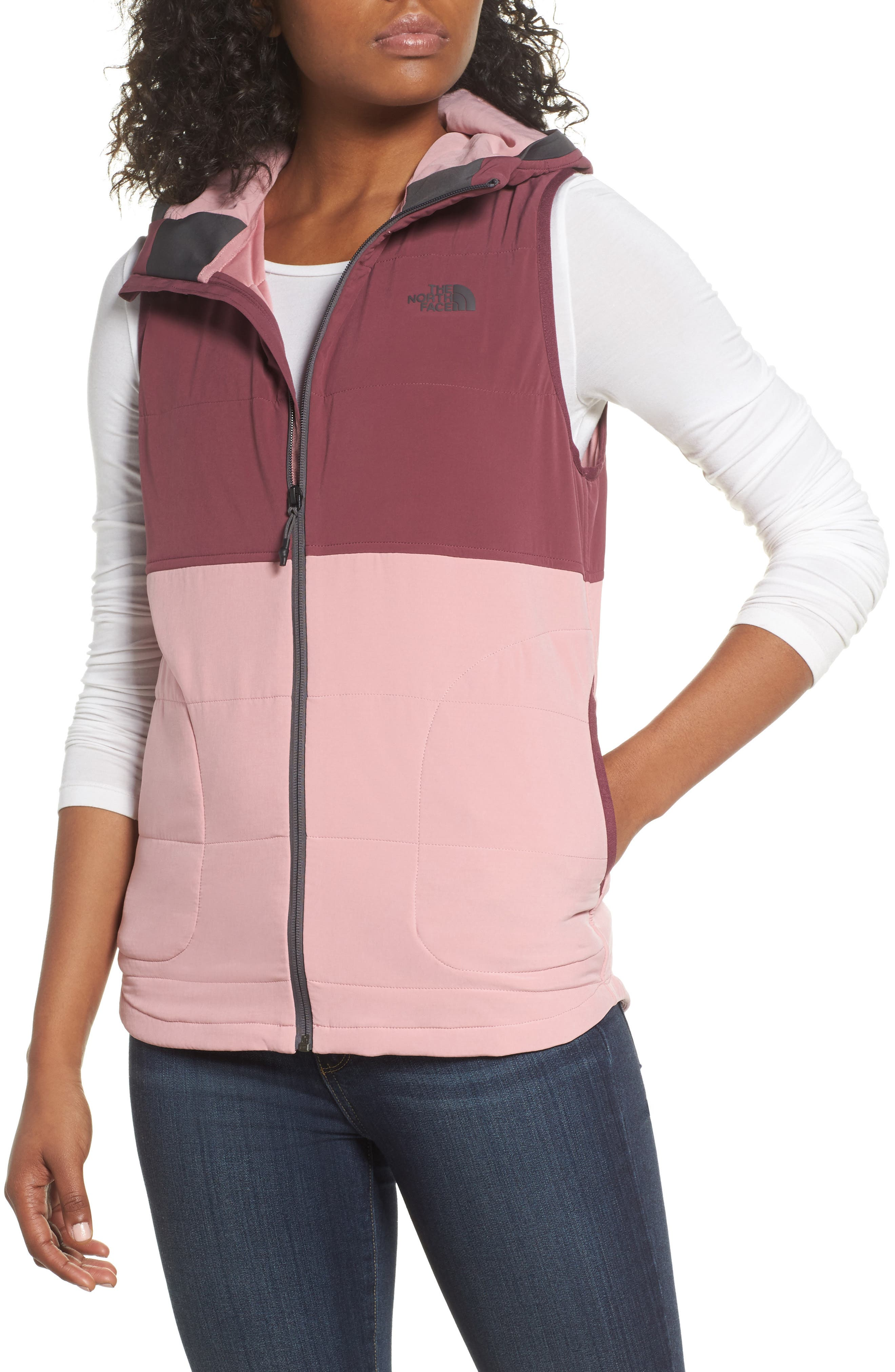 Mountain Sweatshirt Insulated Hooded Vest,                         Main,                         color, Foxglove Lavender/ Violets