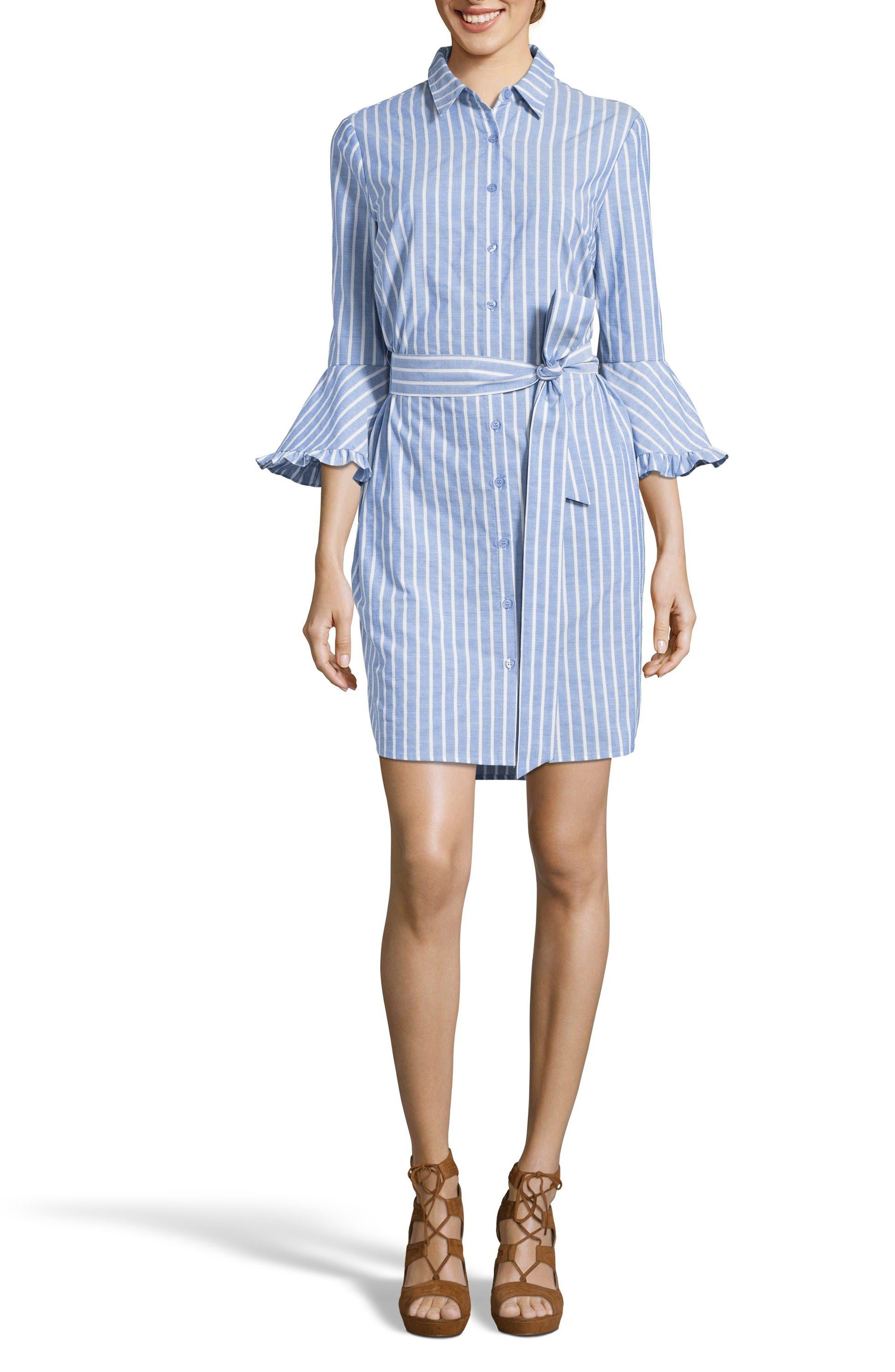 Ruffle Cuff Shirtdress,                             Main thumbnail 1, color,                             Blue/ White