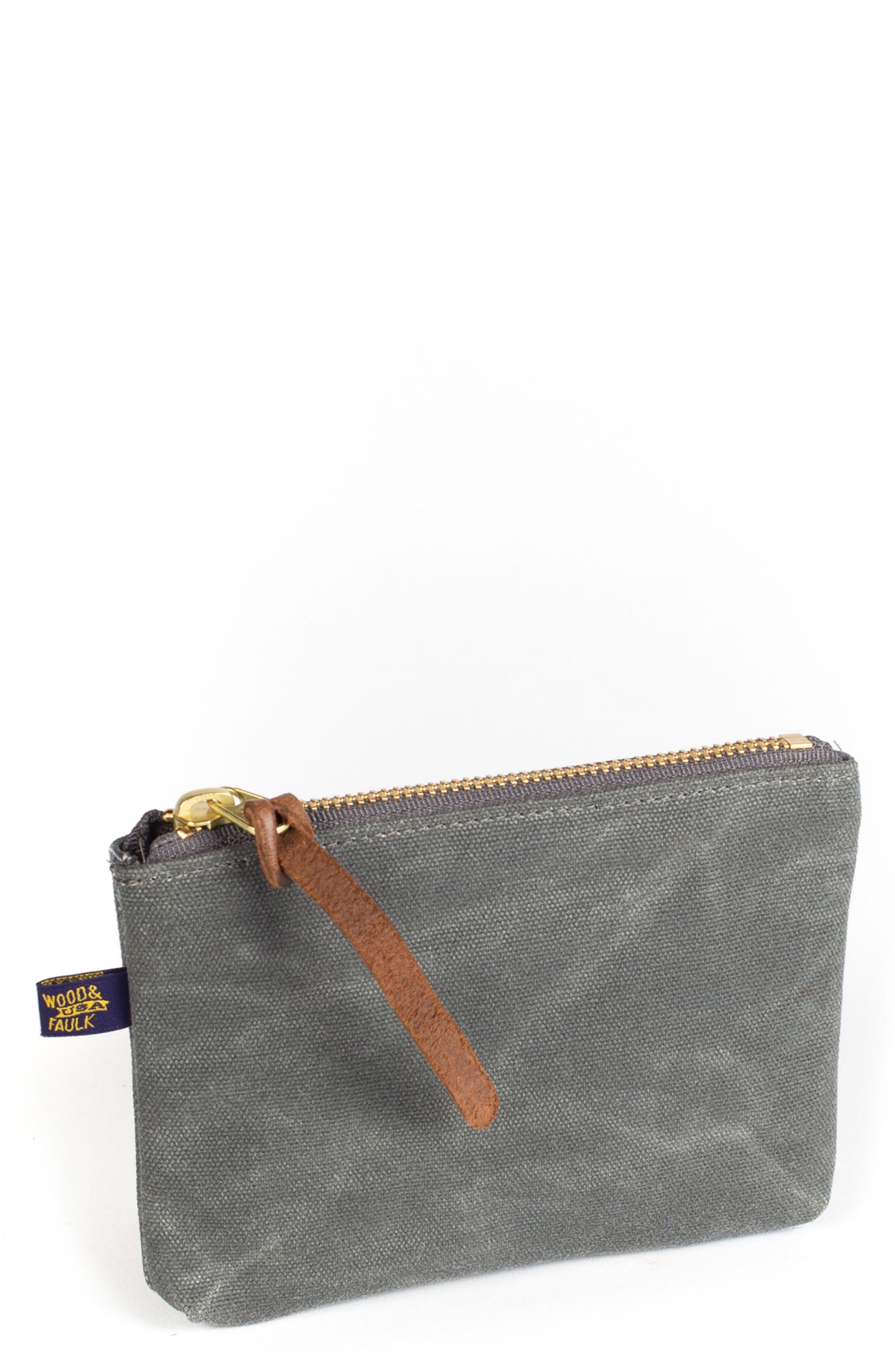 Main Image - Wood&Faulk Waxed Canvas Zip Pouch