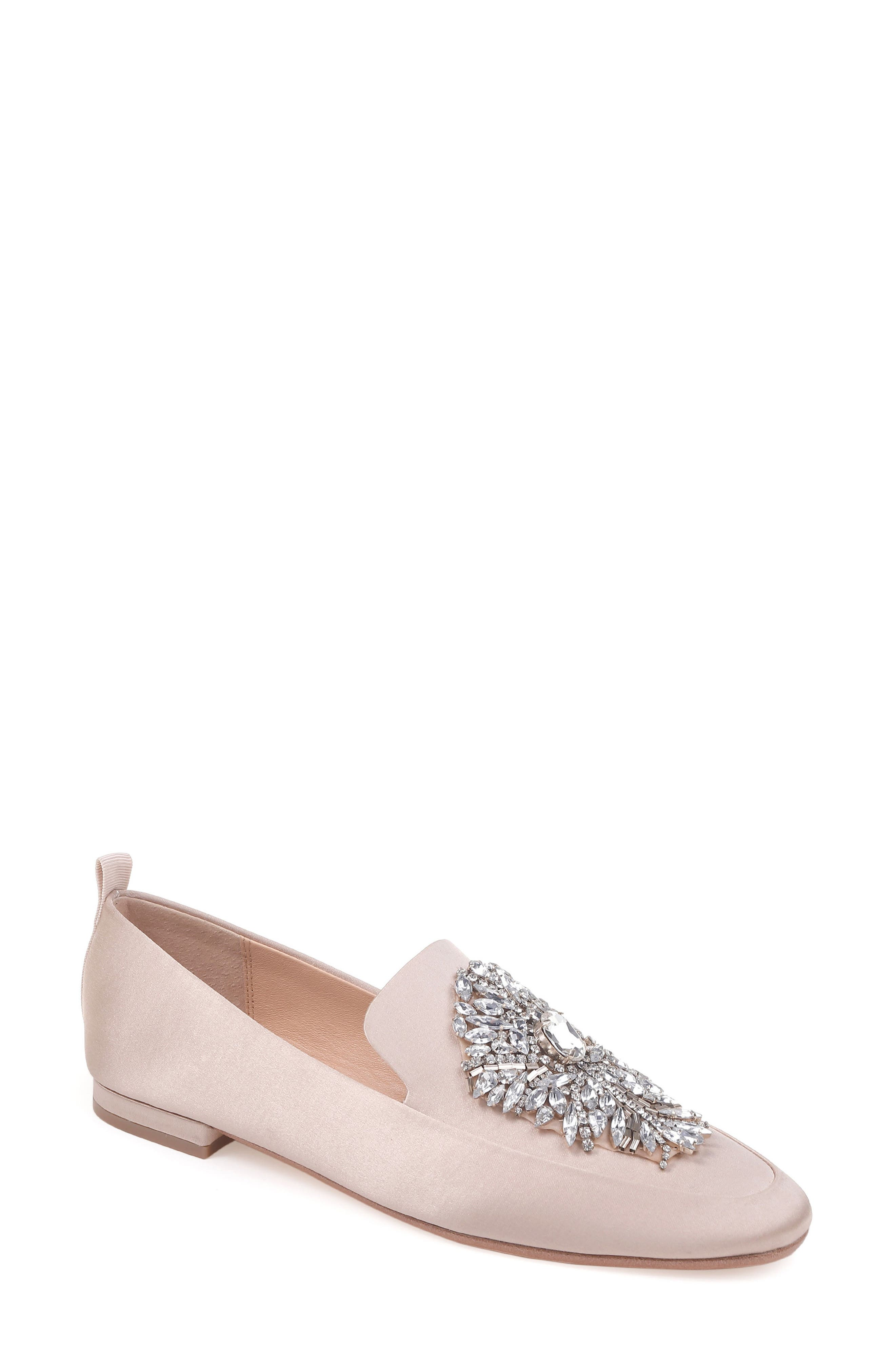 Salma Crystal Embellished Loafer,                             Main thumbnail 1, color,                             Nude Satin