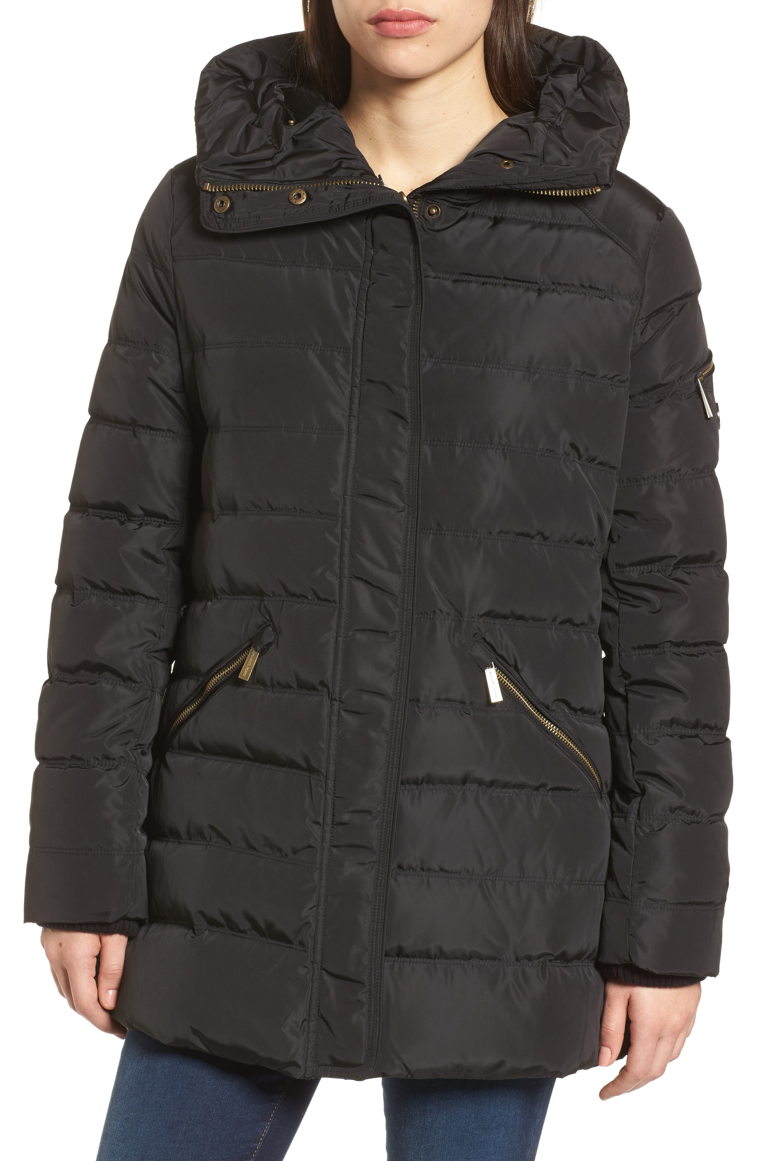 Hooded Coat with Faux Fur Trim,                             Alternate thumbnail 4, color,                             Black