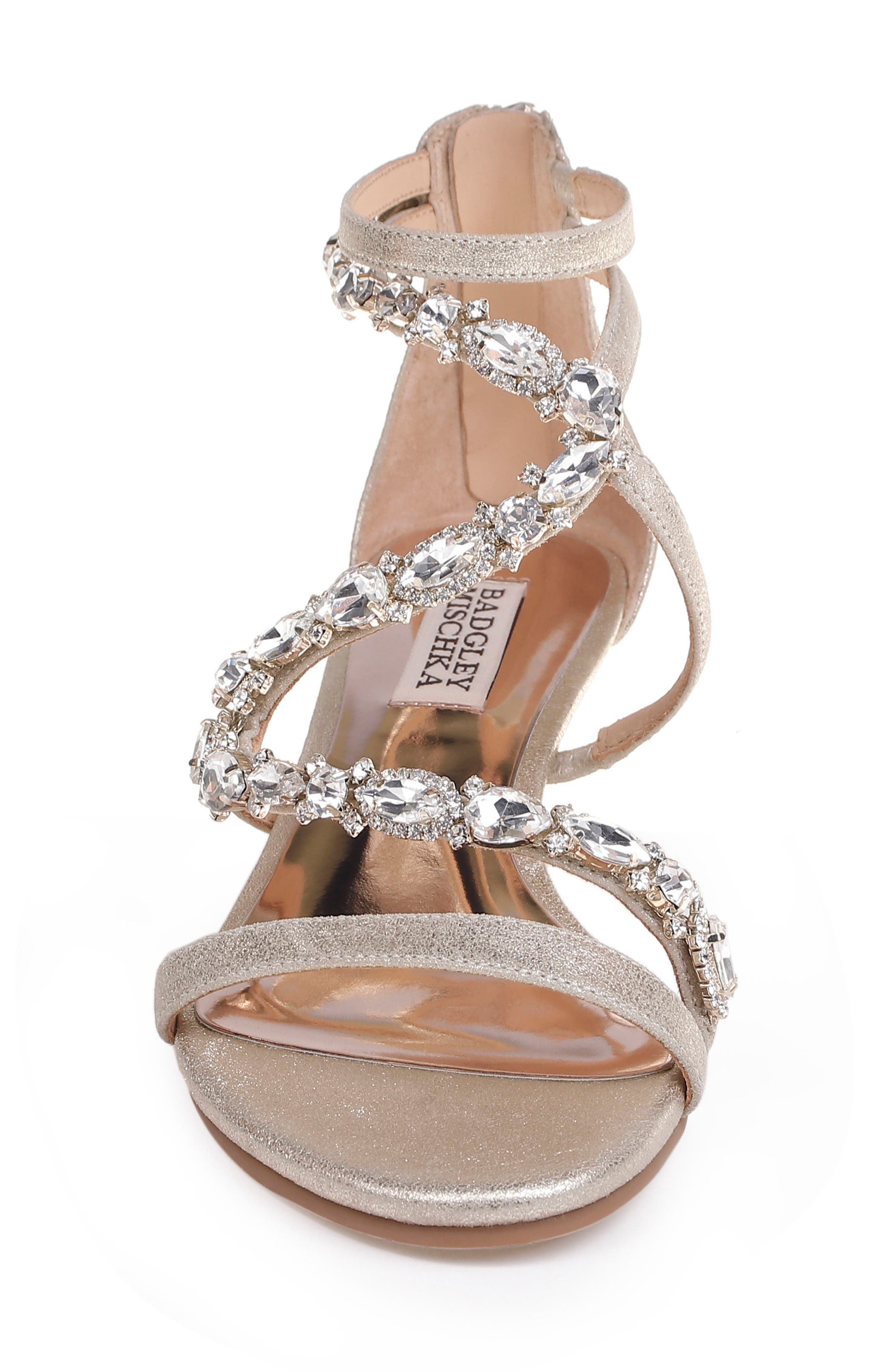 Sierra Strappy Wedge Sandal,                             Alternate thumbnail 4, color,                             Platino Suede