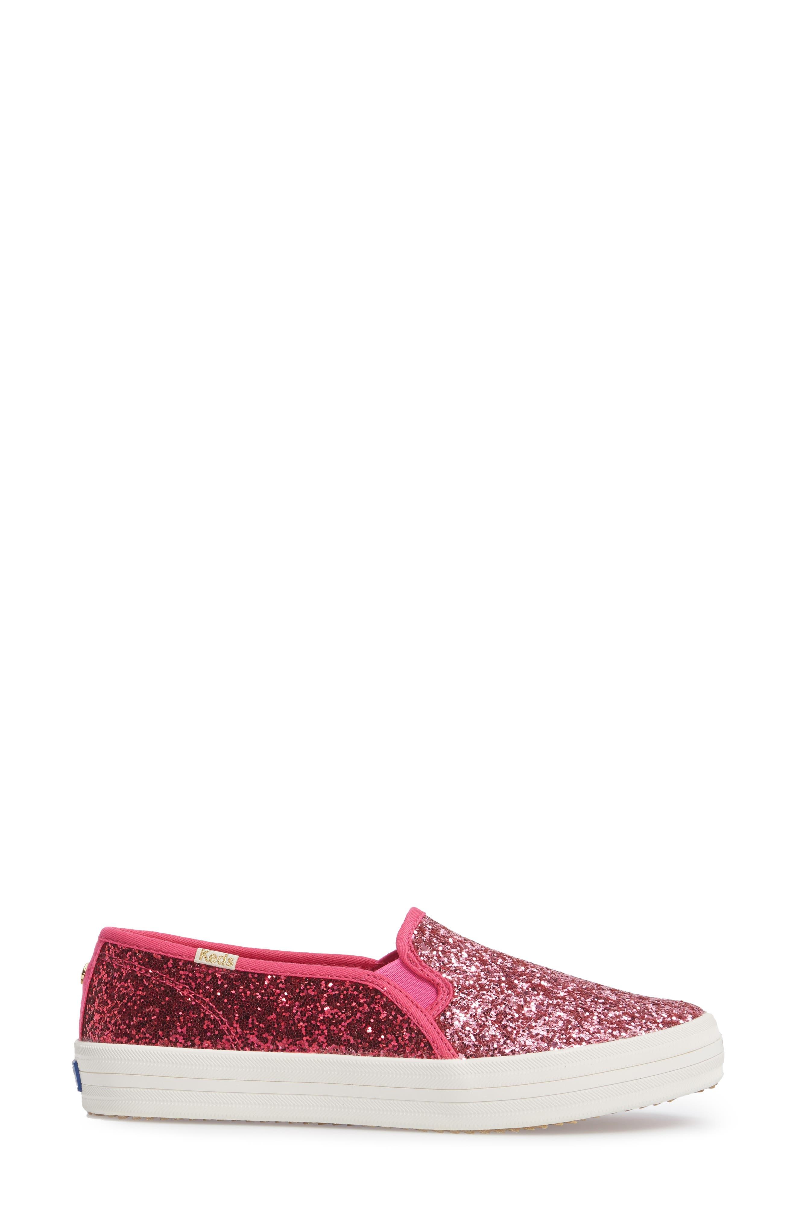 double decker glitter slip-on sneaker,                             Alternate thumbnail 3, color,                             Pink Glitter