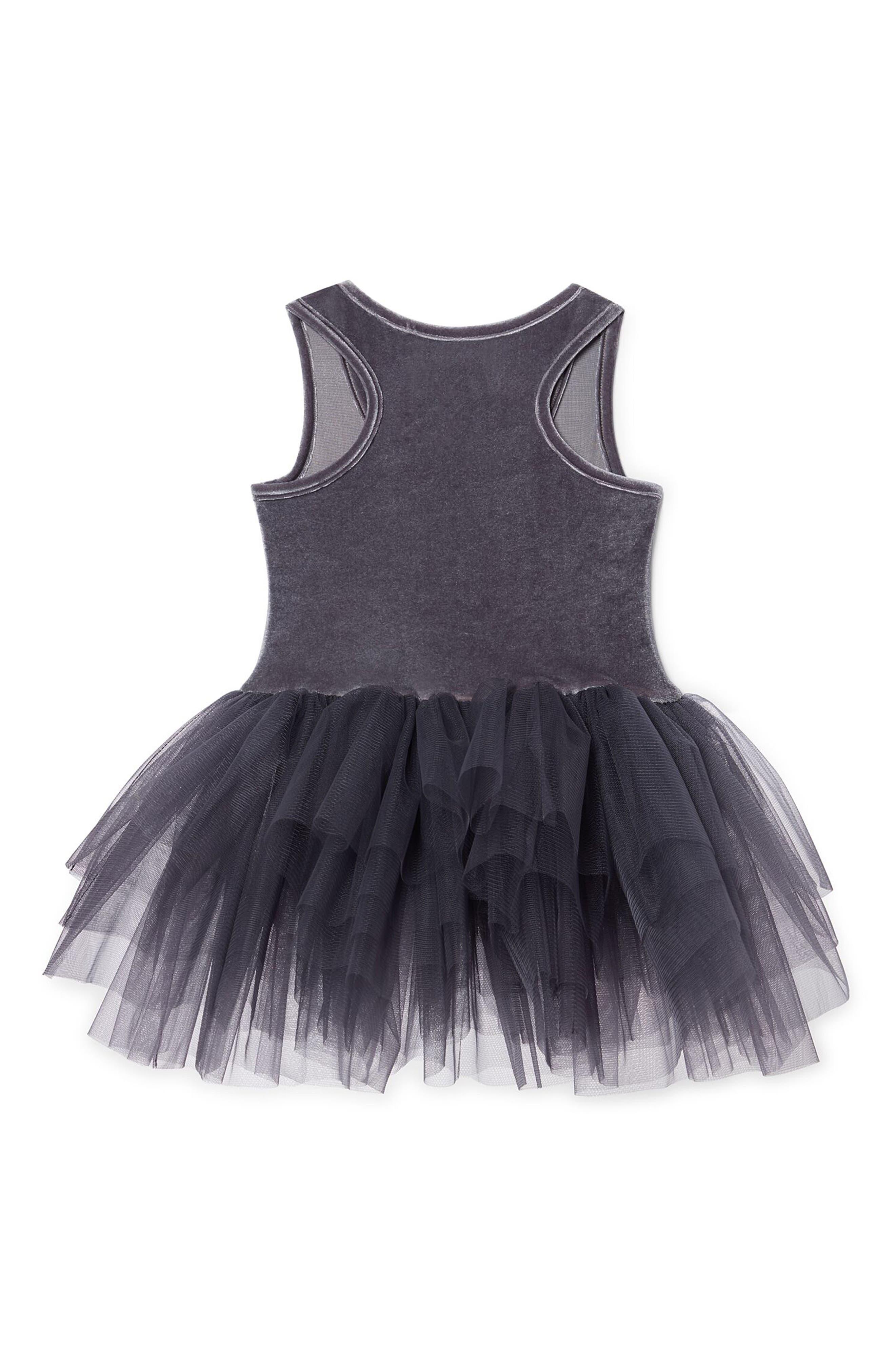 Velvet & Tulle Tutu Dress,                             Alternate thumbnail 2, color,                             Grey