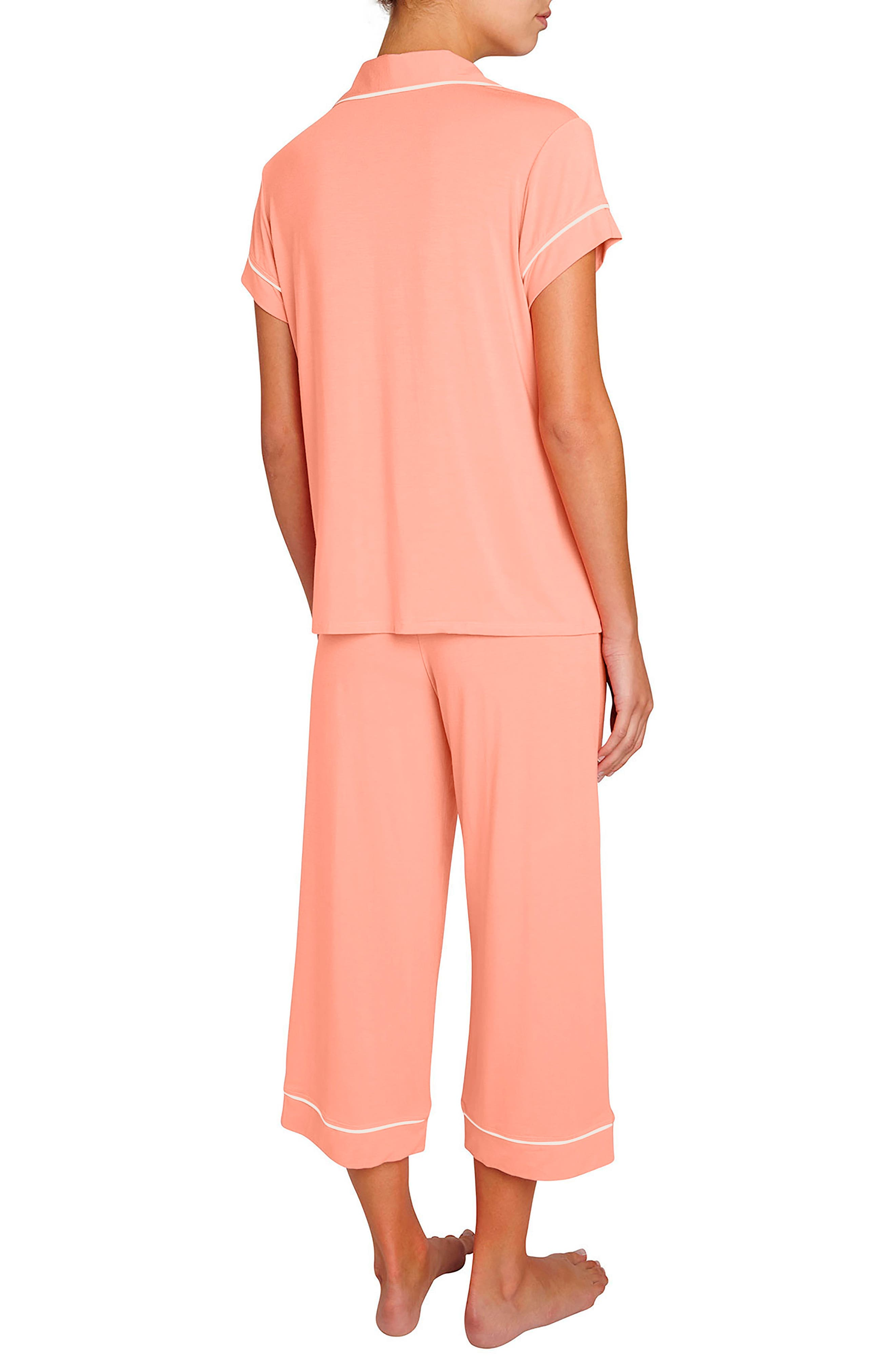 Gisele Crop Pajamas,                             Alternate thumbnail 2, color,                             Candlelight Peach/ Ivory