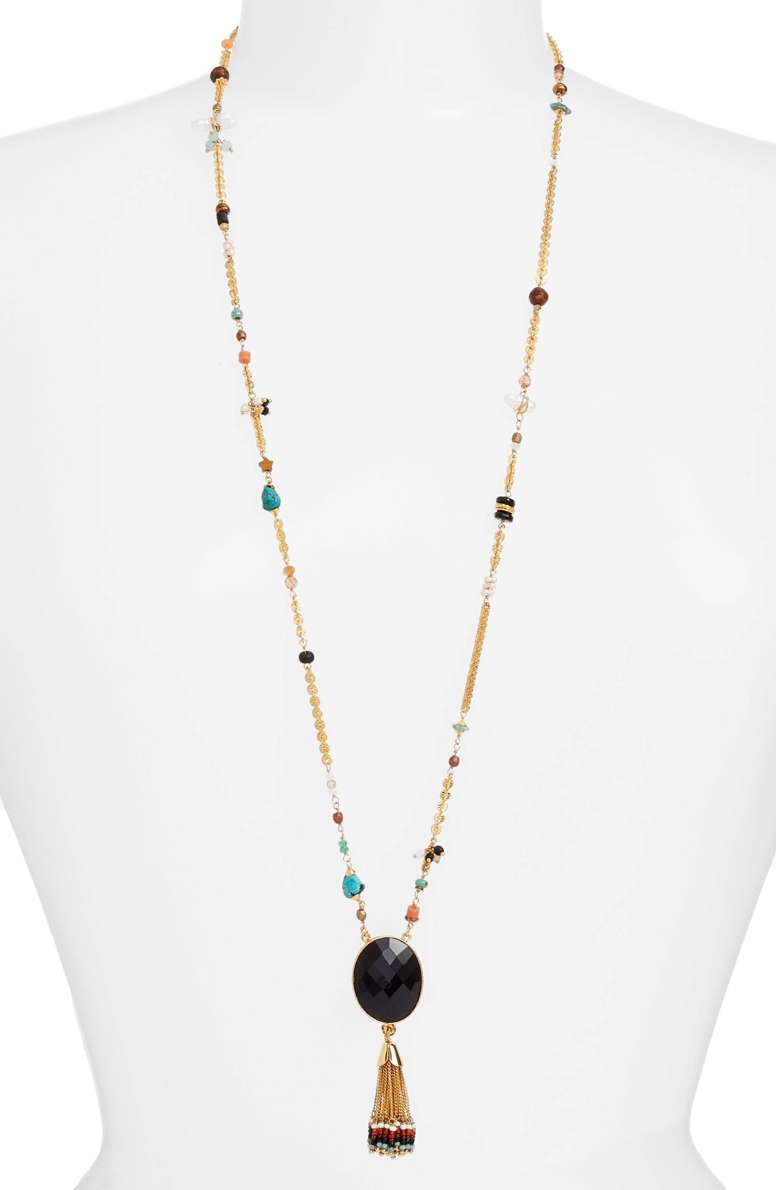 Gas Bijoux Serti Holly Long Tassel Necklace