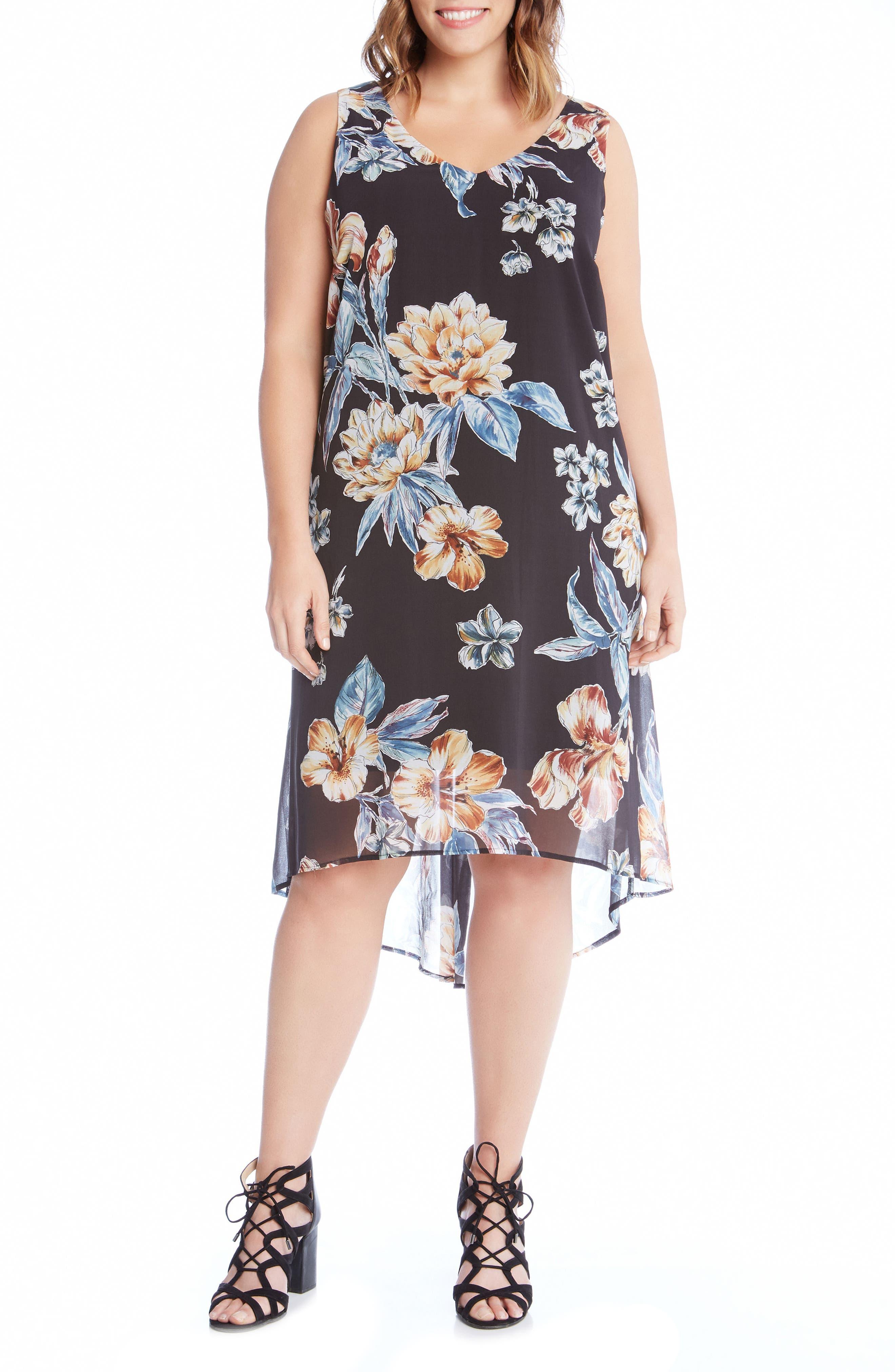 Karen Kane High/Low Sleeveless Dress (Plus Size)