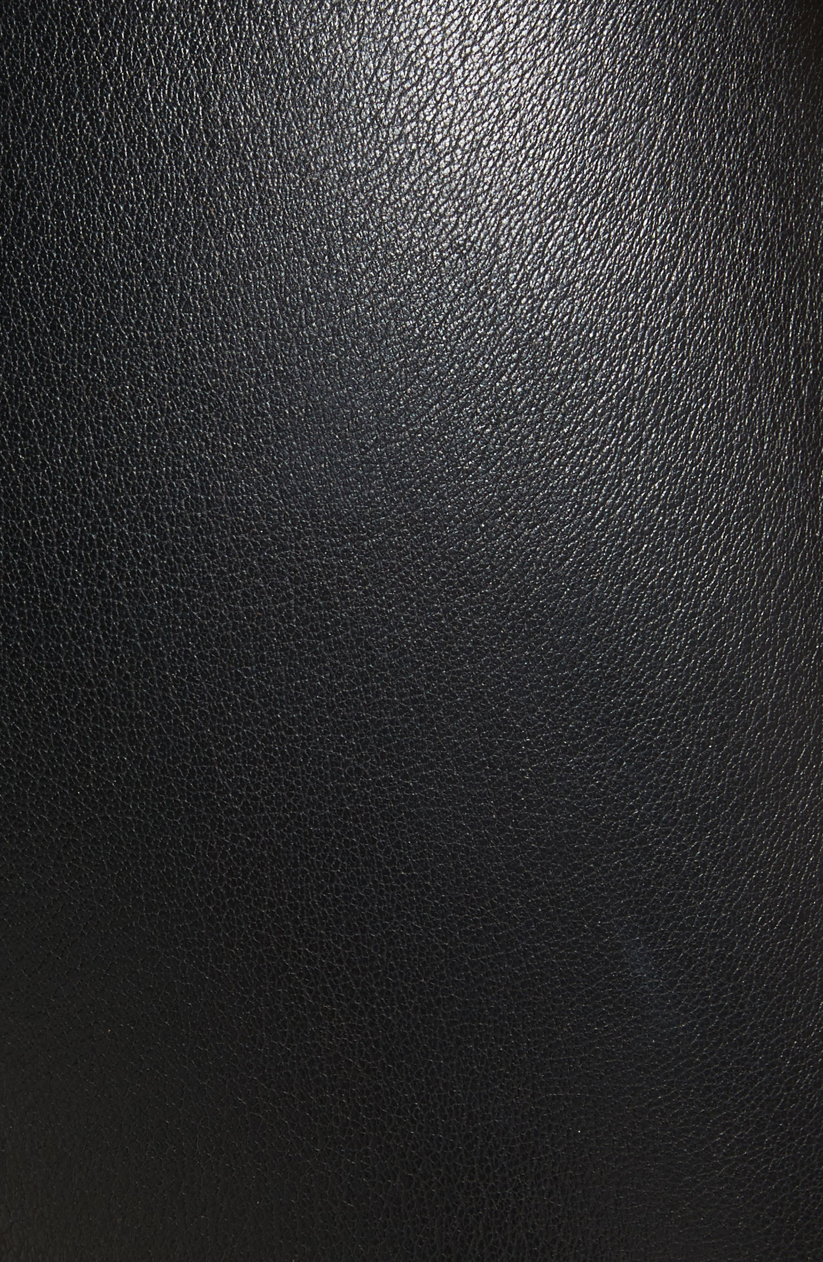 Gionata Ruffle Hem Leather Pants,                             Alternate thumbnail 5, color,                             Black