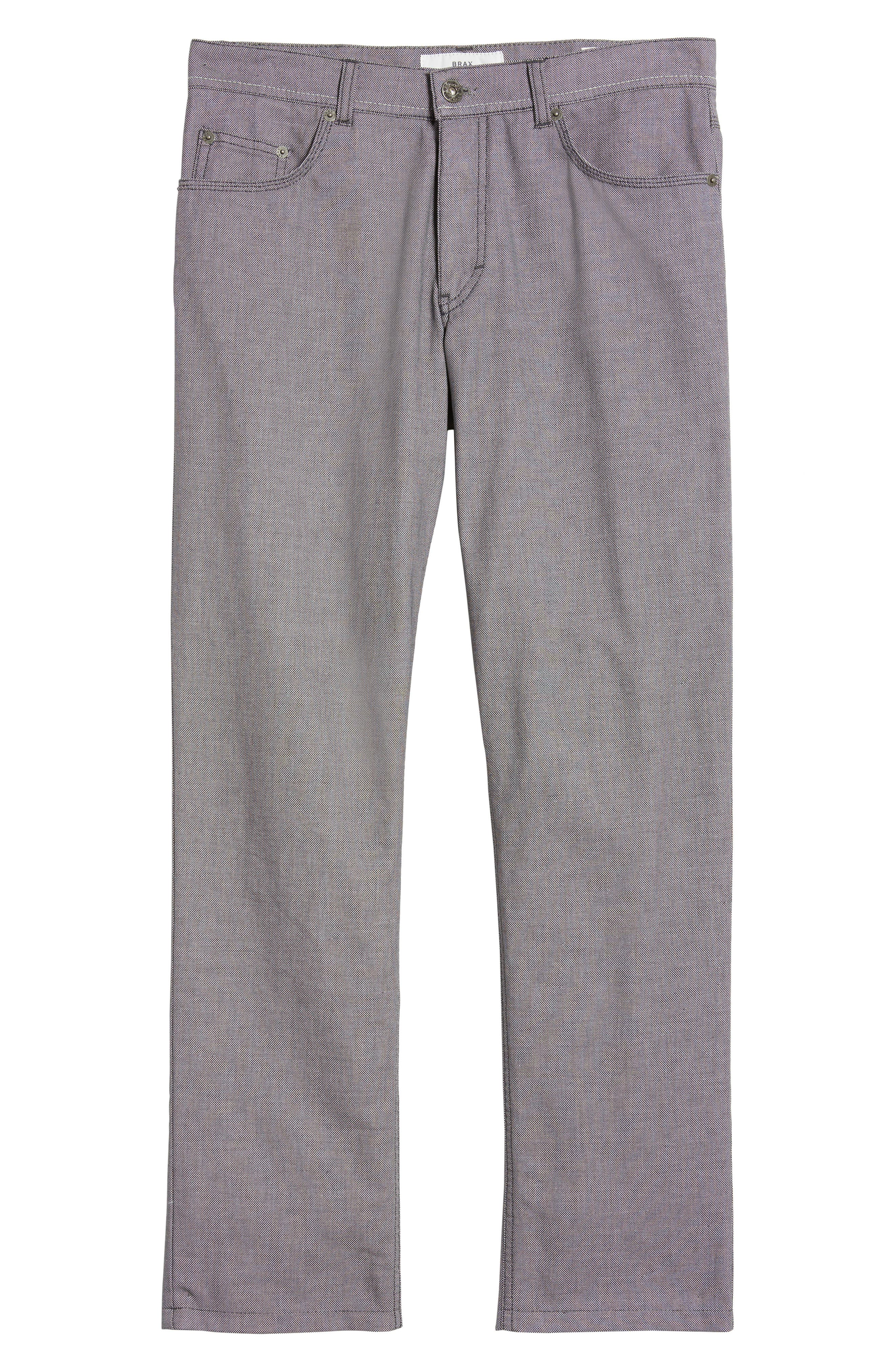 Cooper Bird's Eye Stretch Cotton Pants,                             Alternate thumbnail 6, color,                             Grey