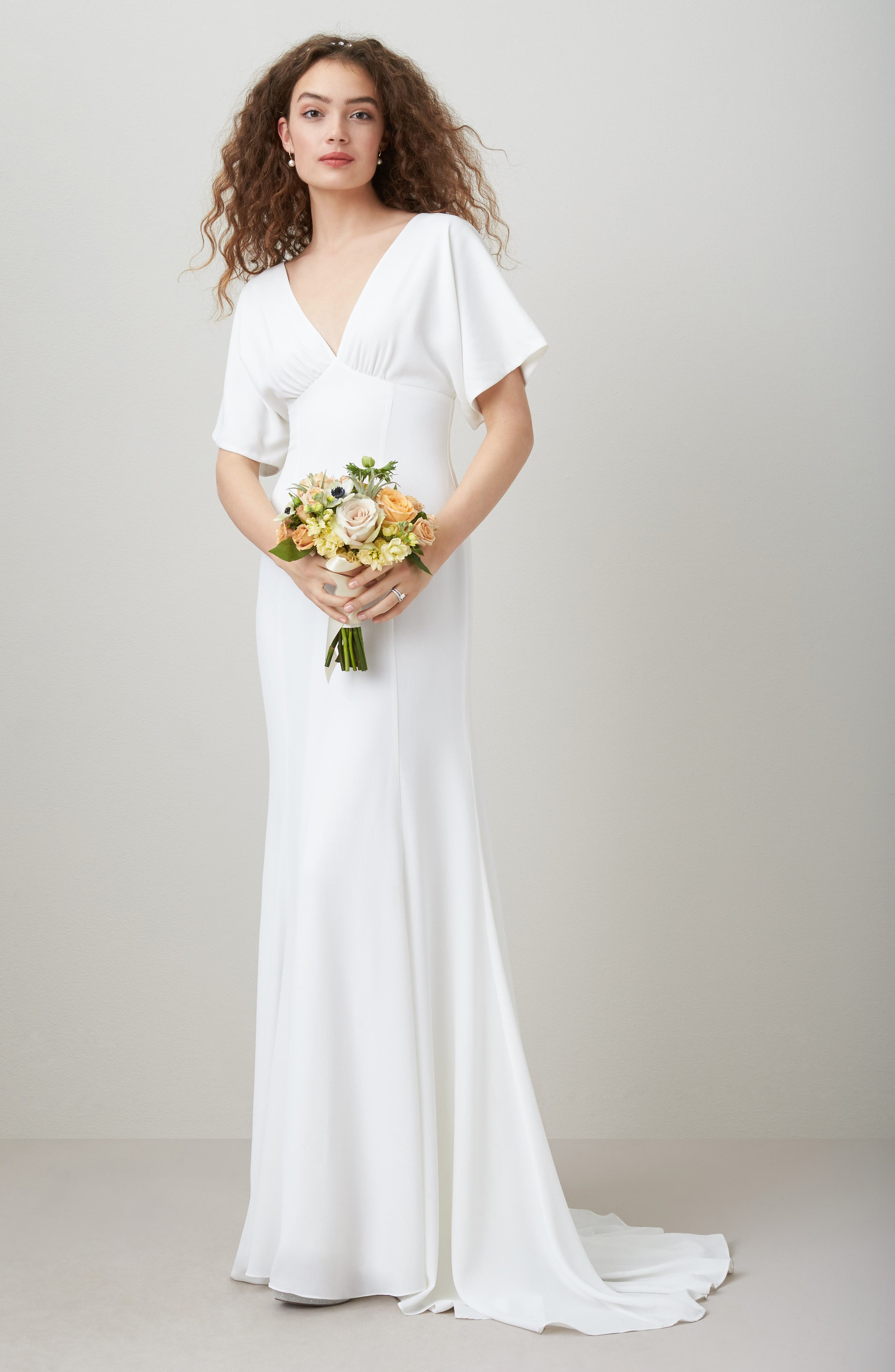 Empire Waist Crepe Gown,                             Alternate thumbnail 2, color,                             White