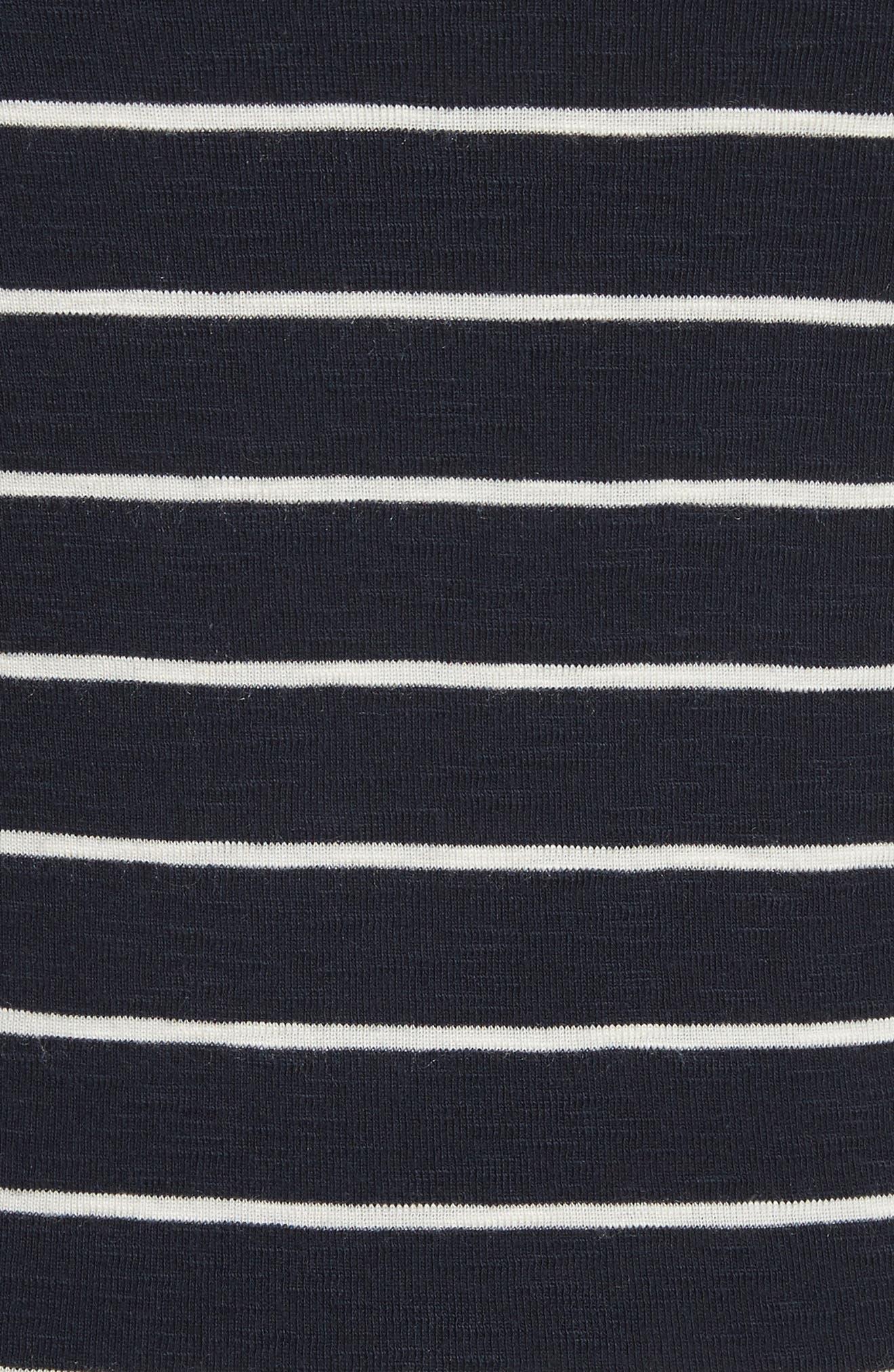 Chalk Stripe Fitted Crewneck Tee,                             Alternate thumbnail 5, color,                             Coastal/ Off White