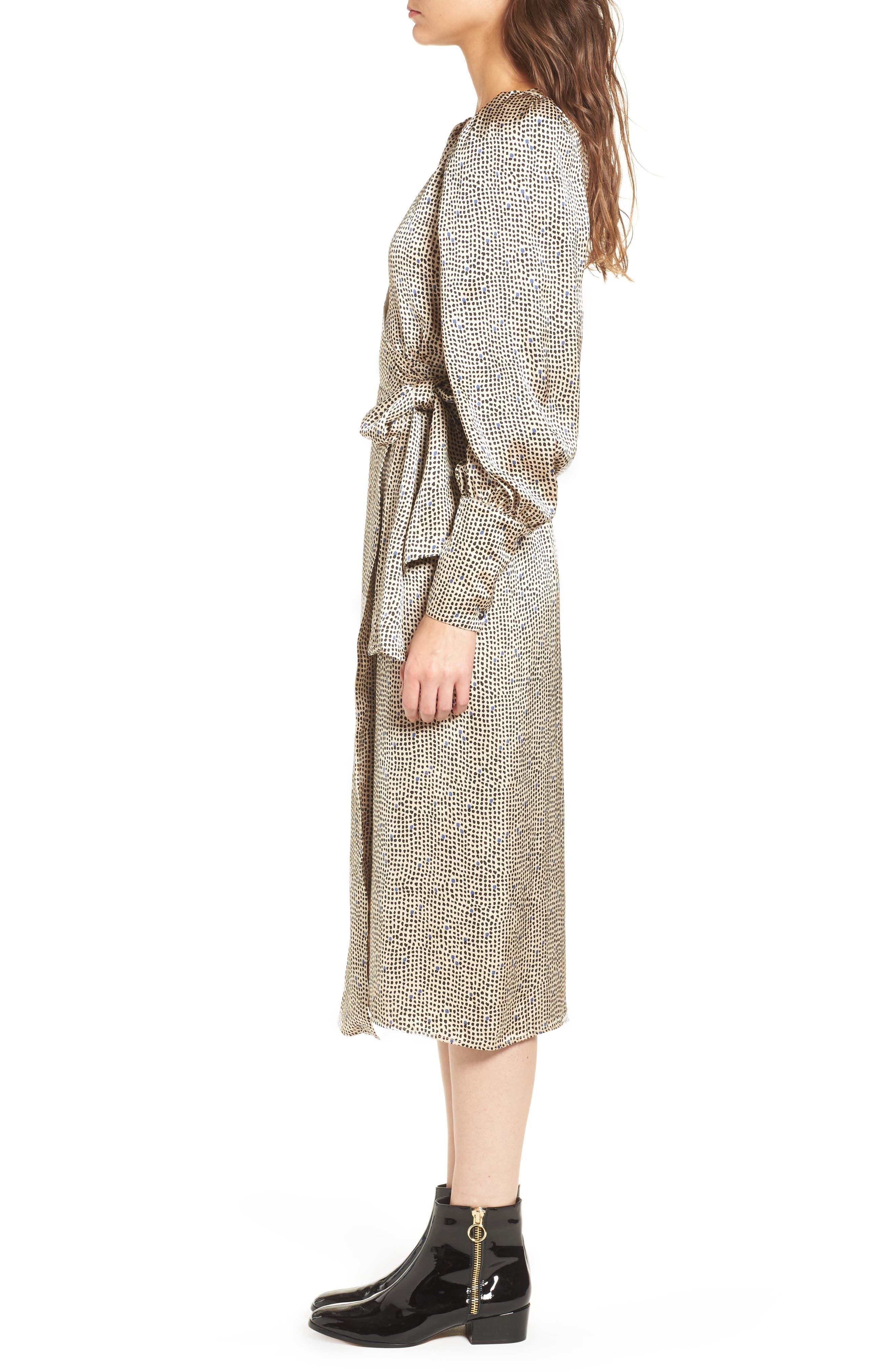Mini Spot Wrap Dress,                             Alternate thumbnail 6, color,                             Beige Multi
