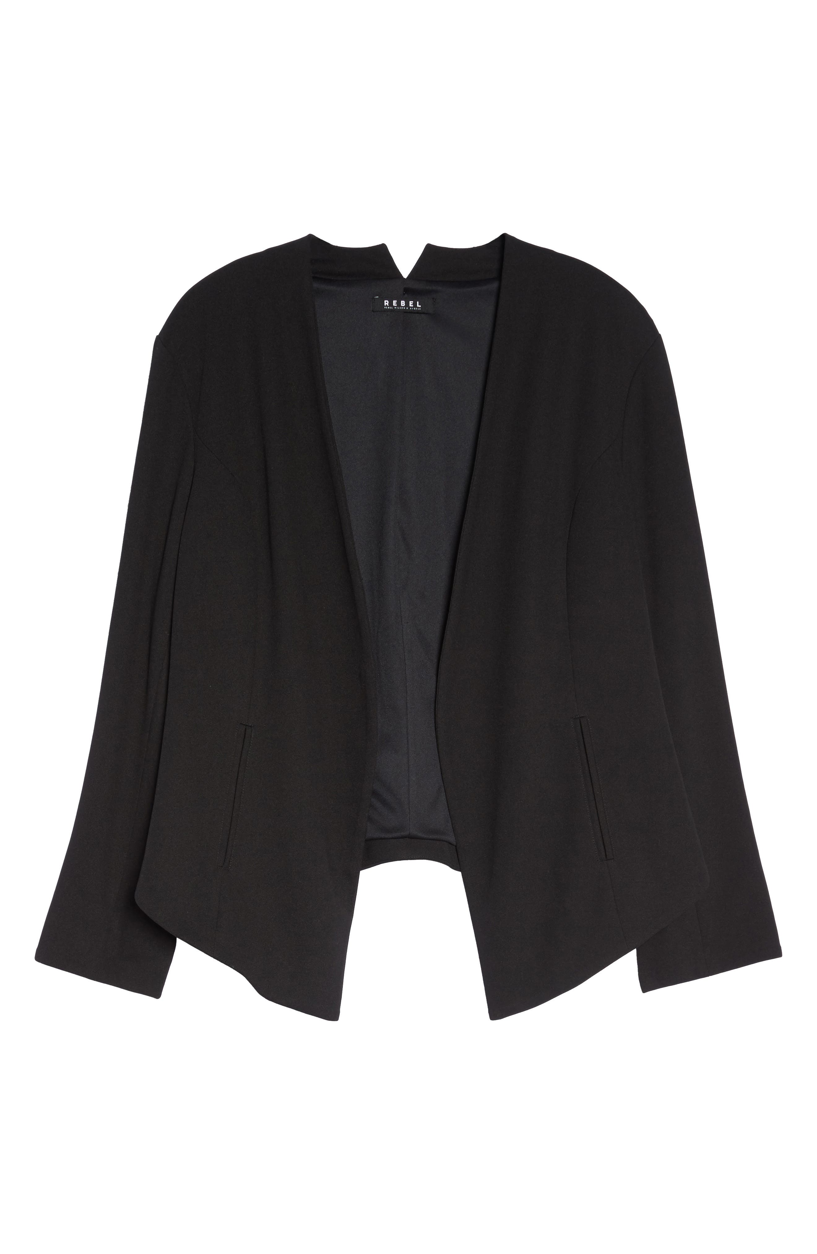 Open Front Blazer,                             Alternate thumbnail 4, color,                             Black