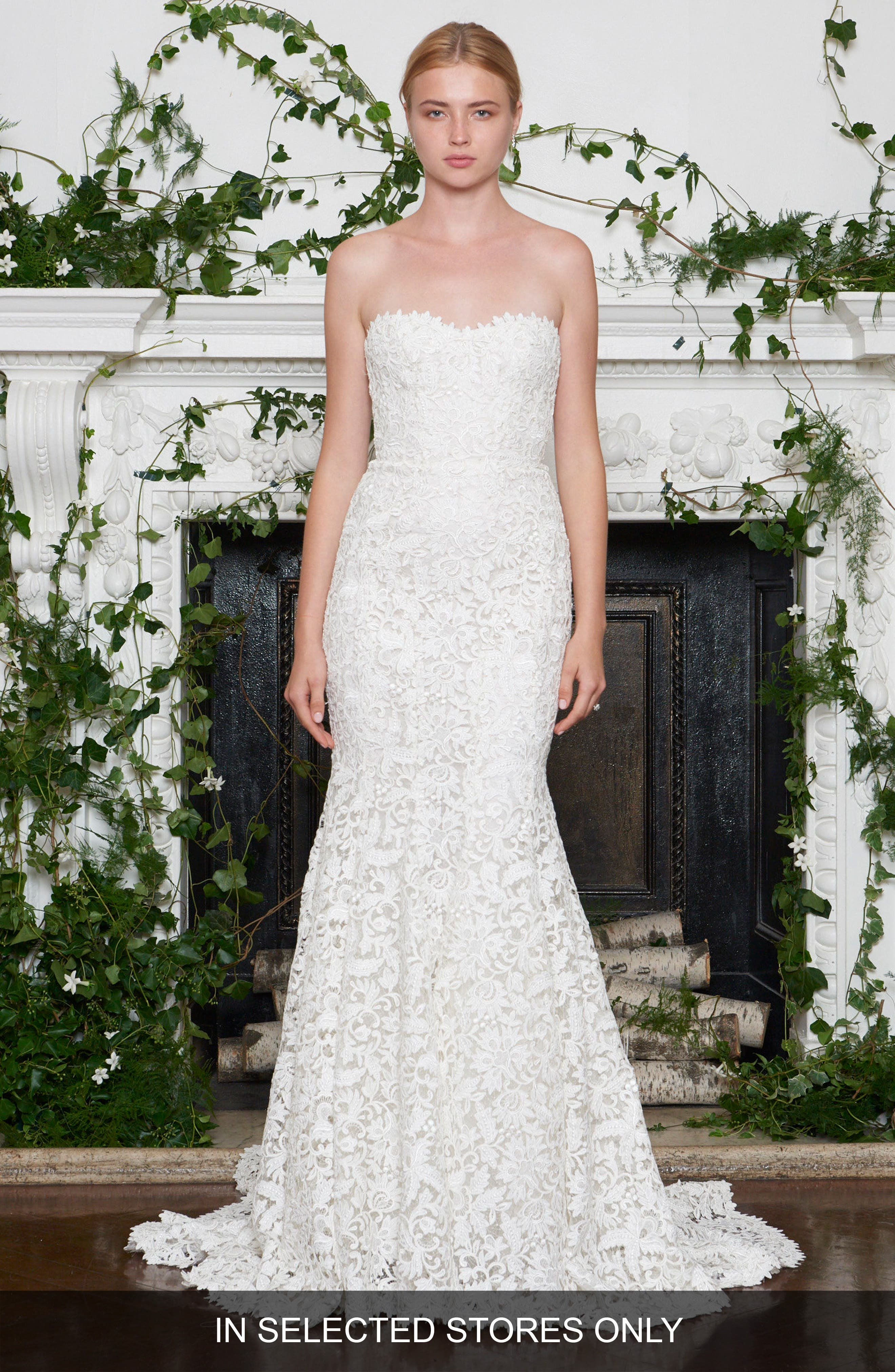 Metallic Lace Strapless Mermaid Gown,                         Main,                         color, Ivory