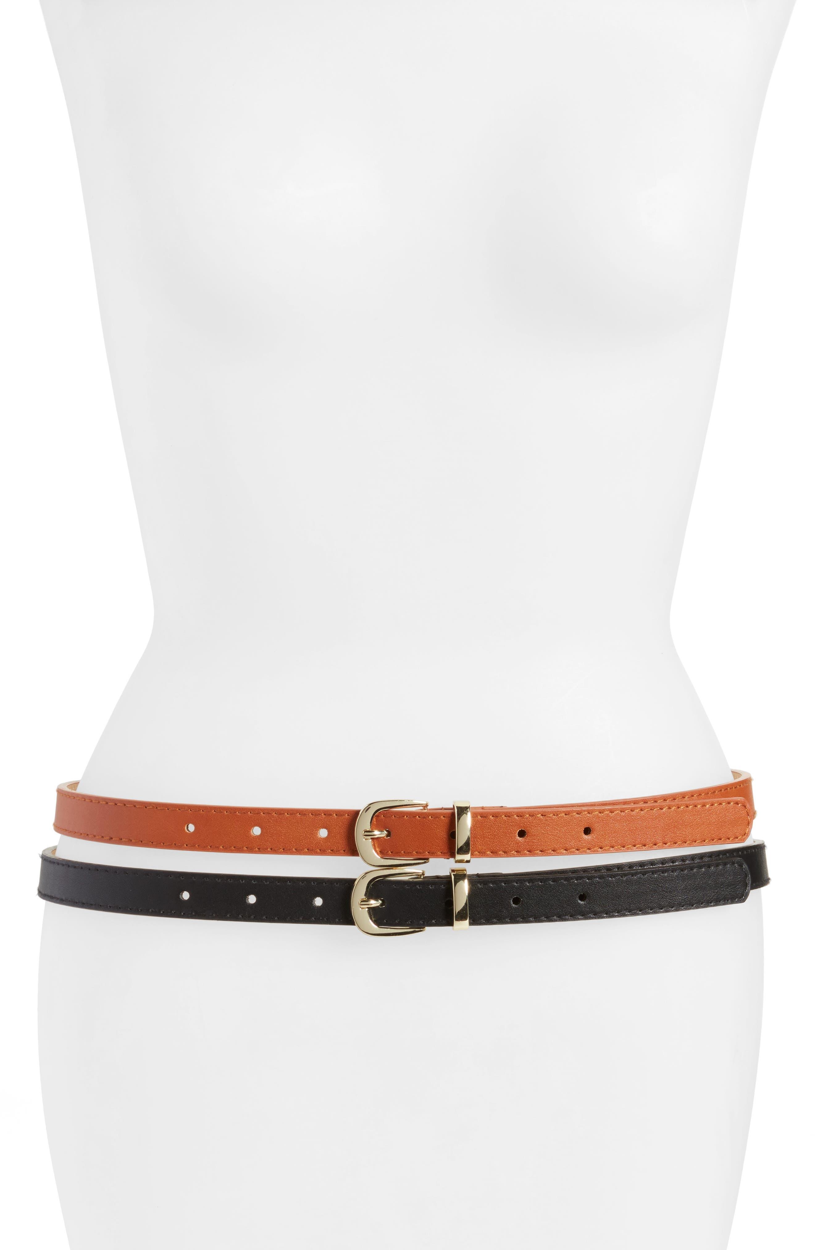 2-Pack Faux Leather Belts,                         Main,                         color, Black/ Cognac