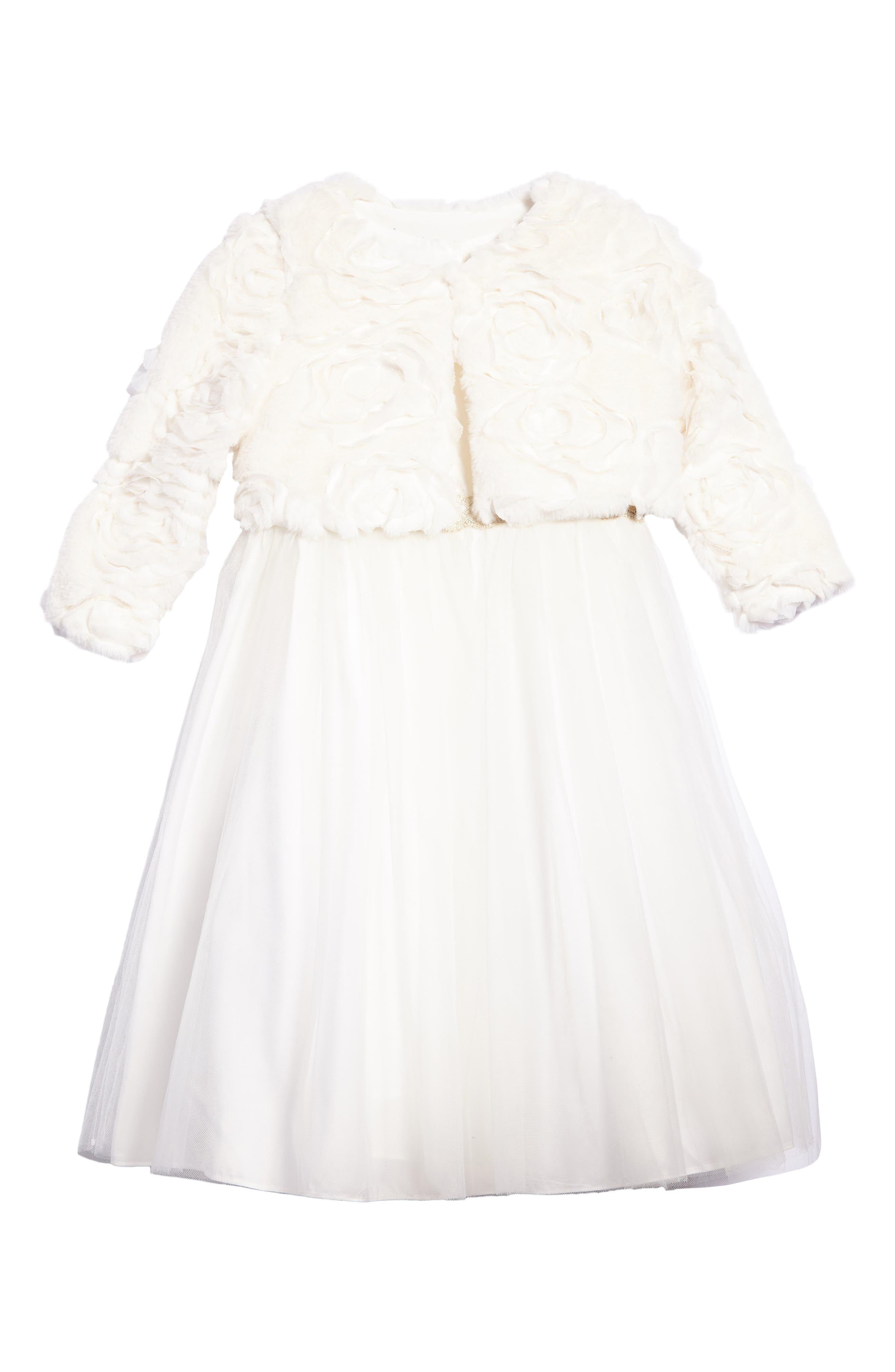 Main Image - Pippa & Julie Faux Fur Jacket & Dress Set (Toddler Girls, Little Girls & Big Girls)