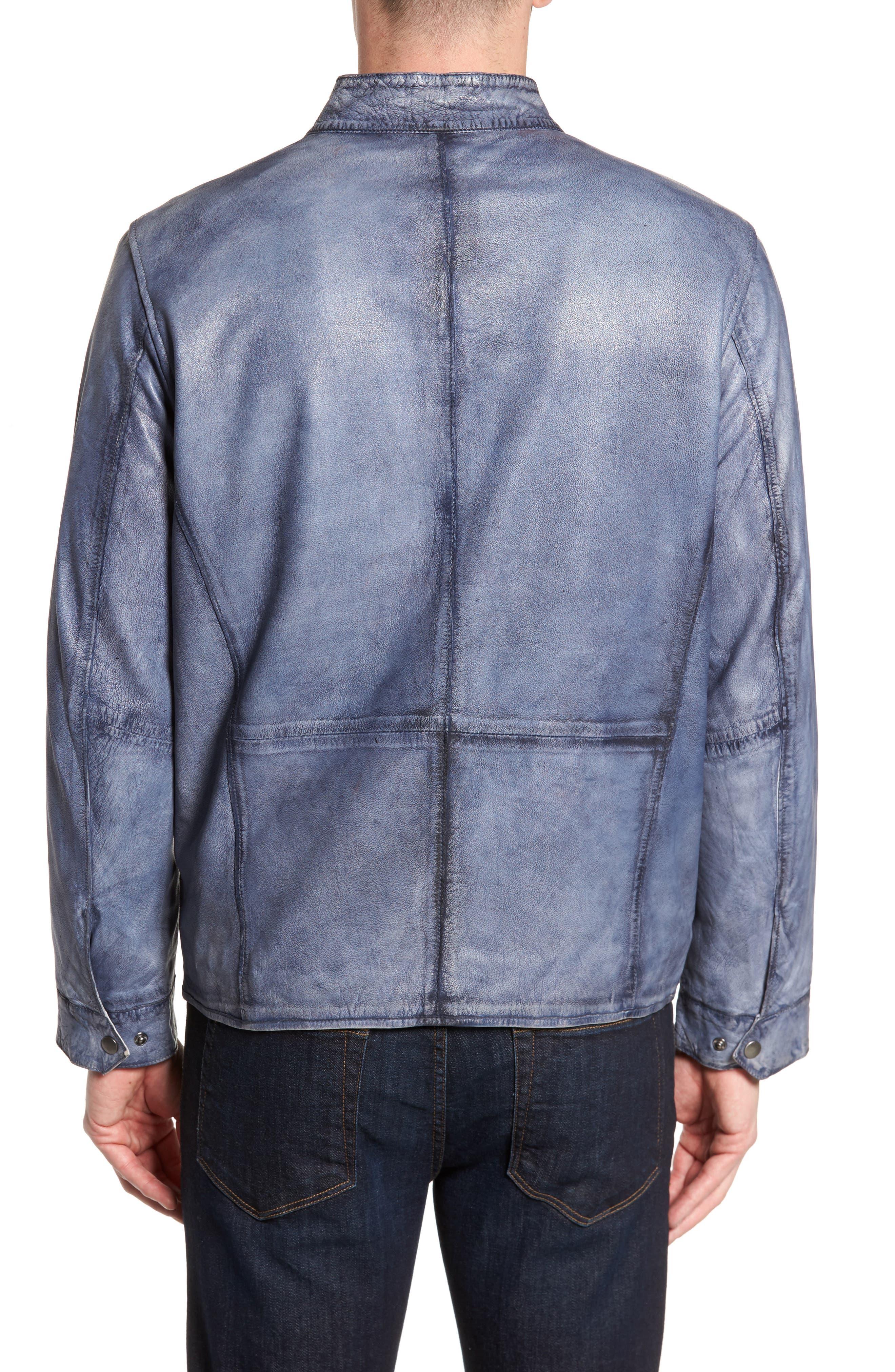Alternate Image 2  - Missani Le Collezioni Abraded Washed Leather Jacket