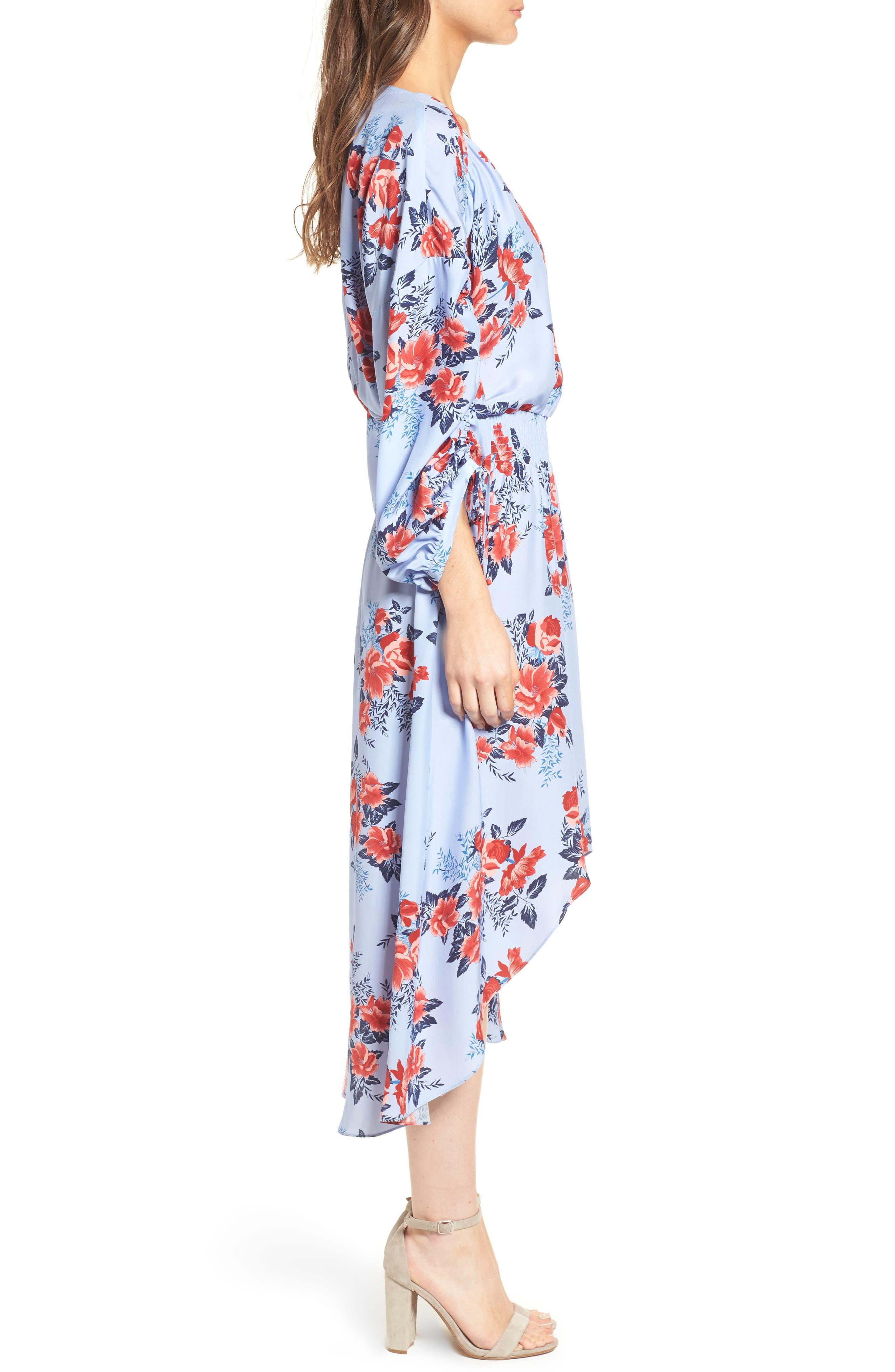 Xiomara Silk Dress,                             Alternate thumbnail 3, color,                             Lilac Blossom