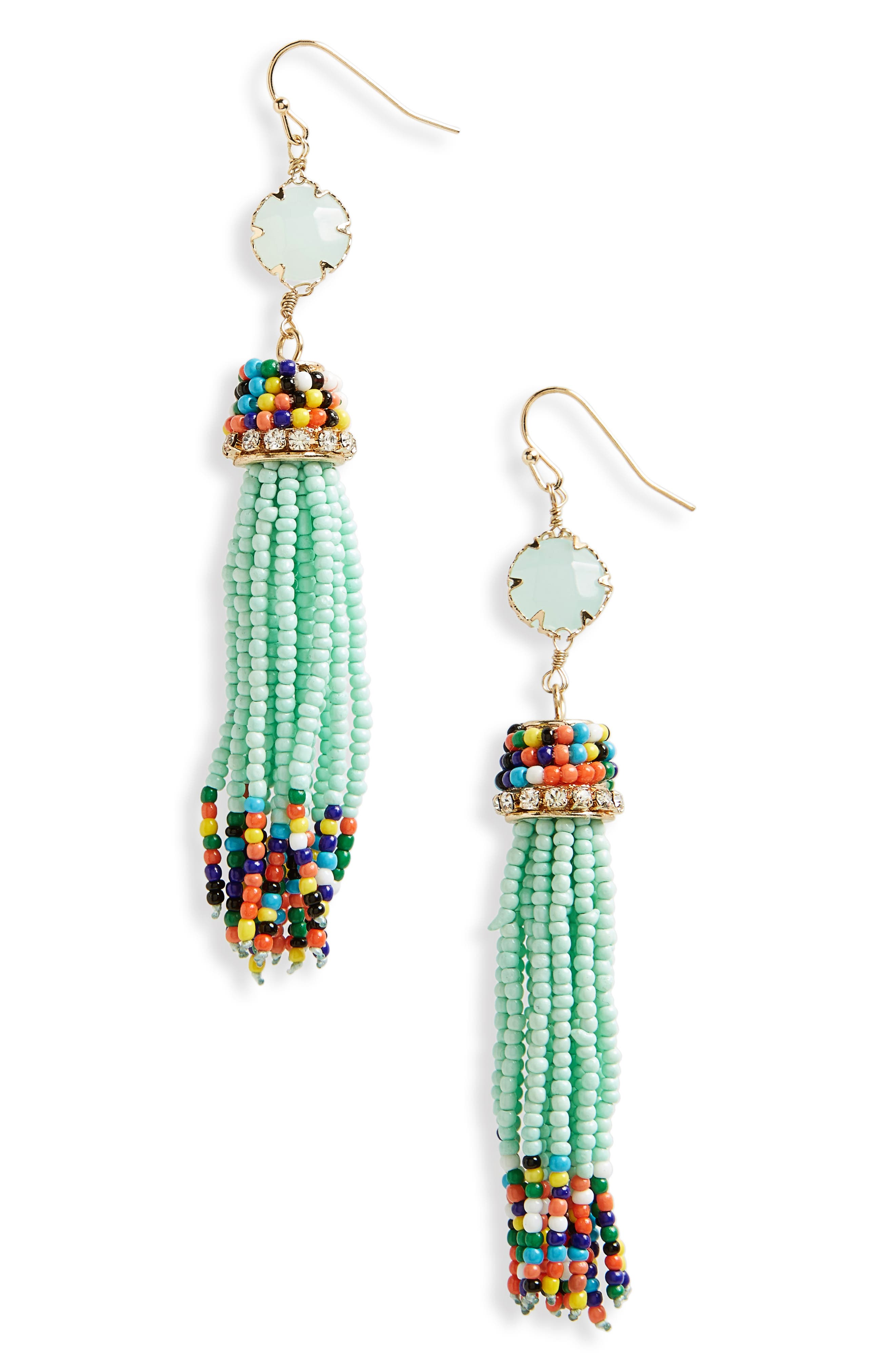 Beaded Drop Earrings,                         Main,                         color, Mint