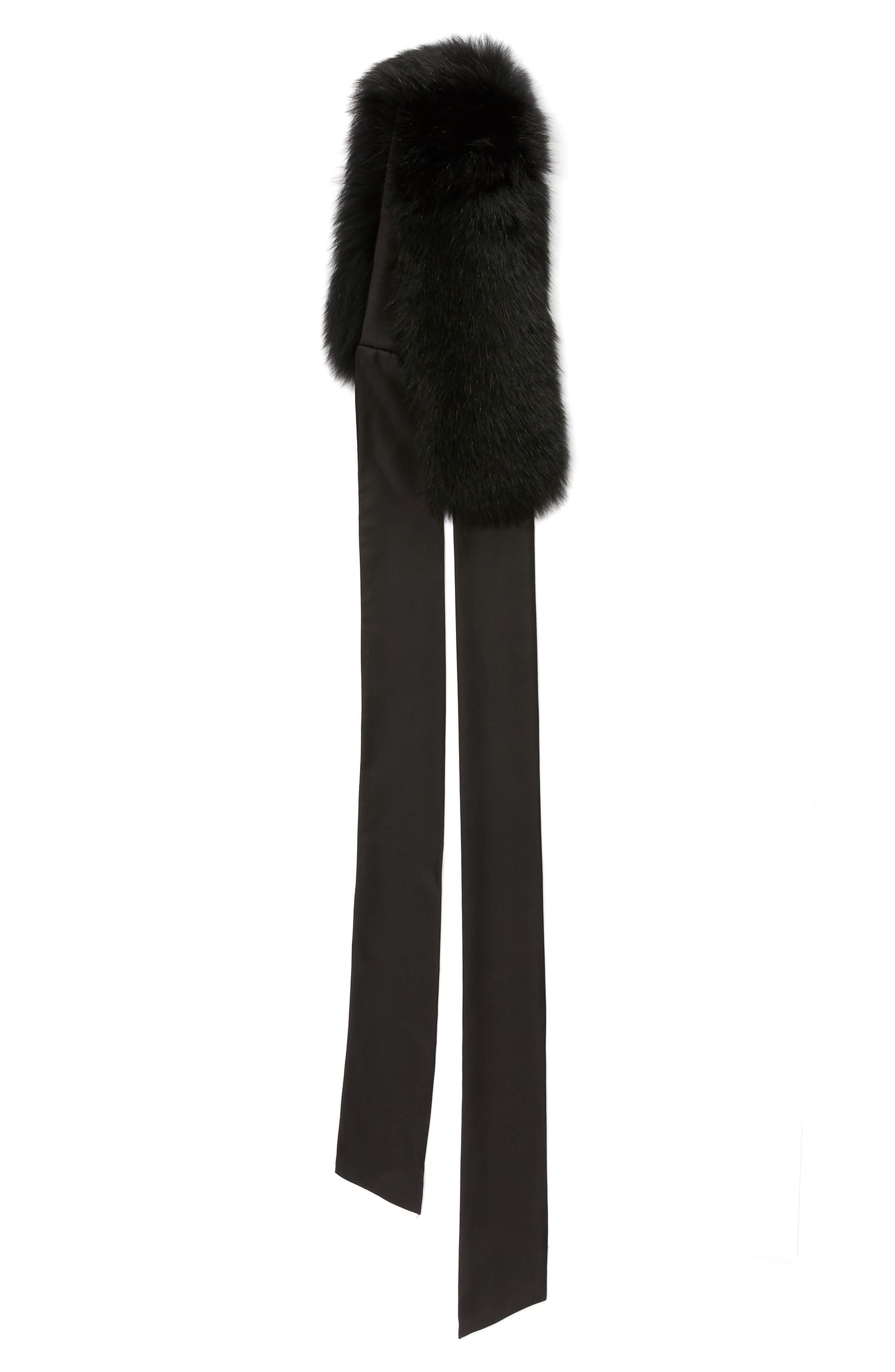 Cecilia Genuine Fox Fur Collar,                             Alternate thumbnail 3, color,                             Black