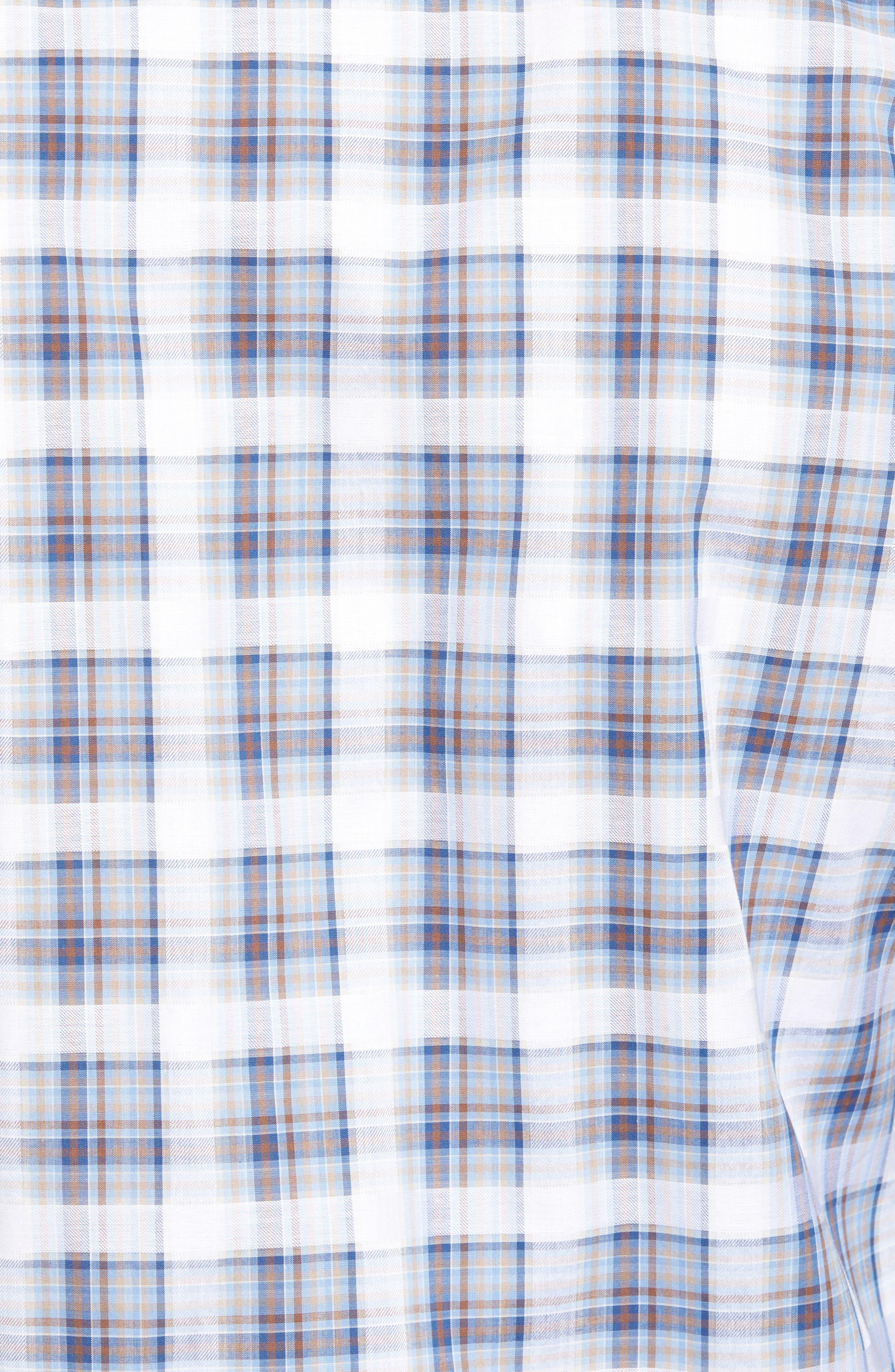Shaped Fit Check Sport Shirt,                             Alternate thumbnail 5, color,                             Sky