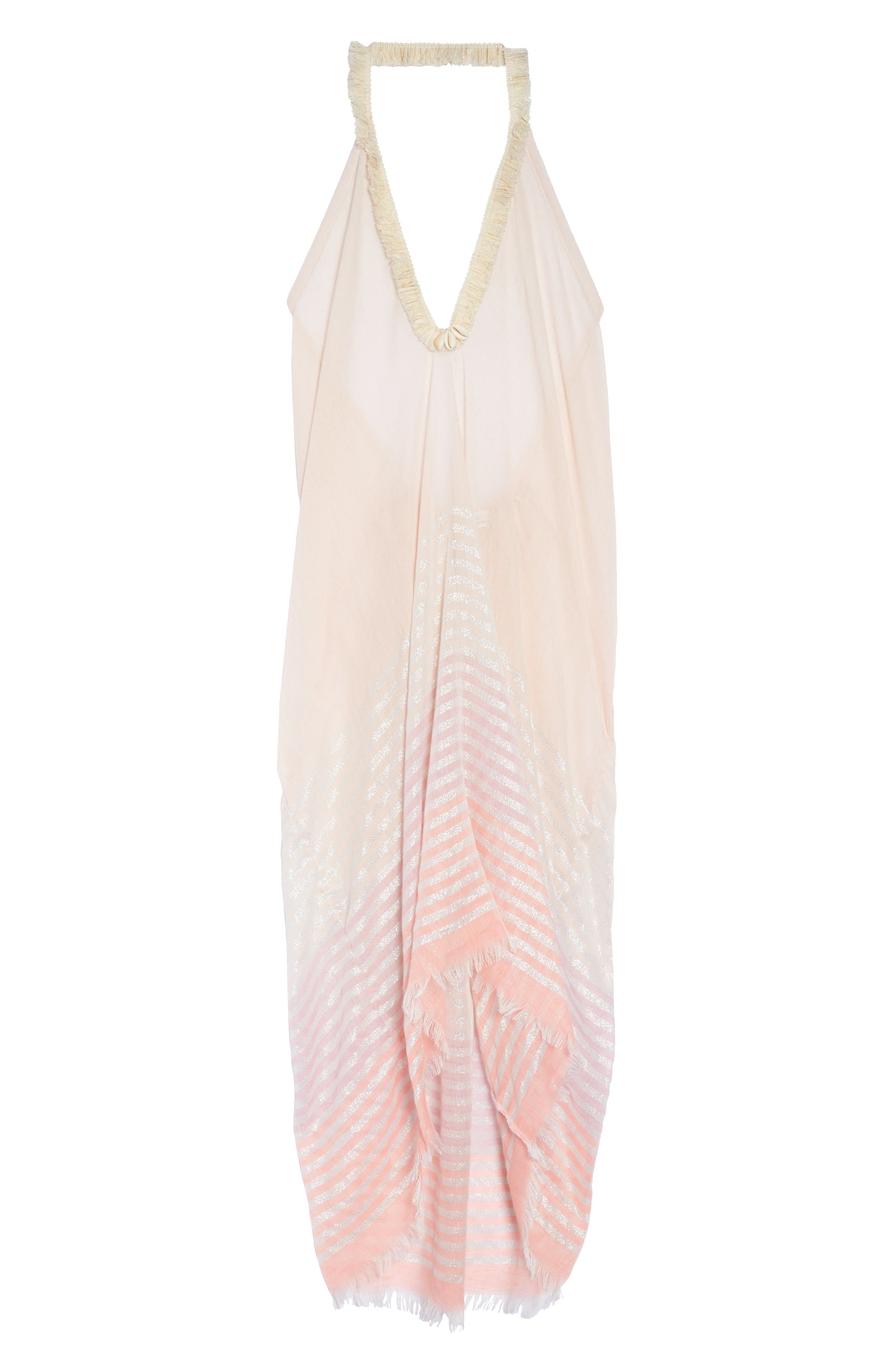 Halter Cover-Up Dress,                             Alternate thumbnail 6, color,                             Coral