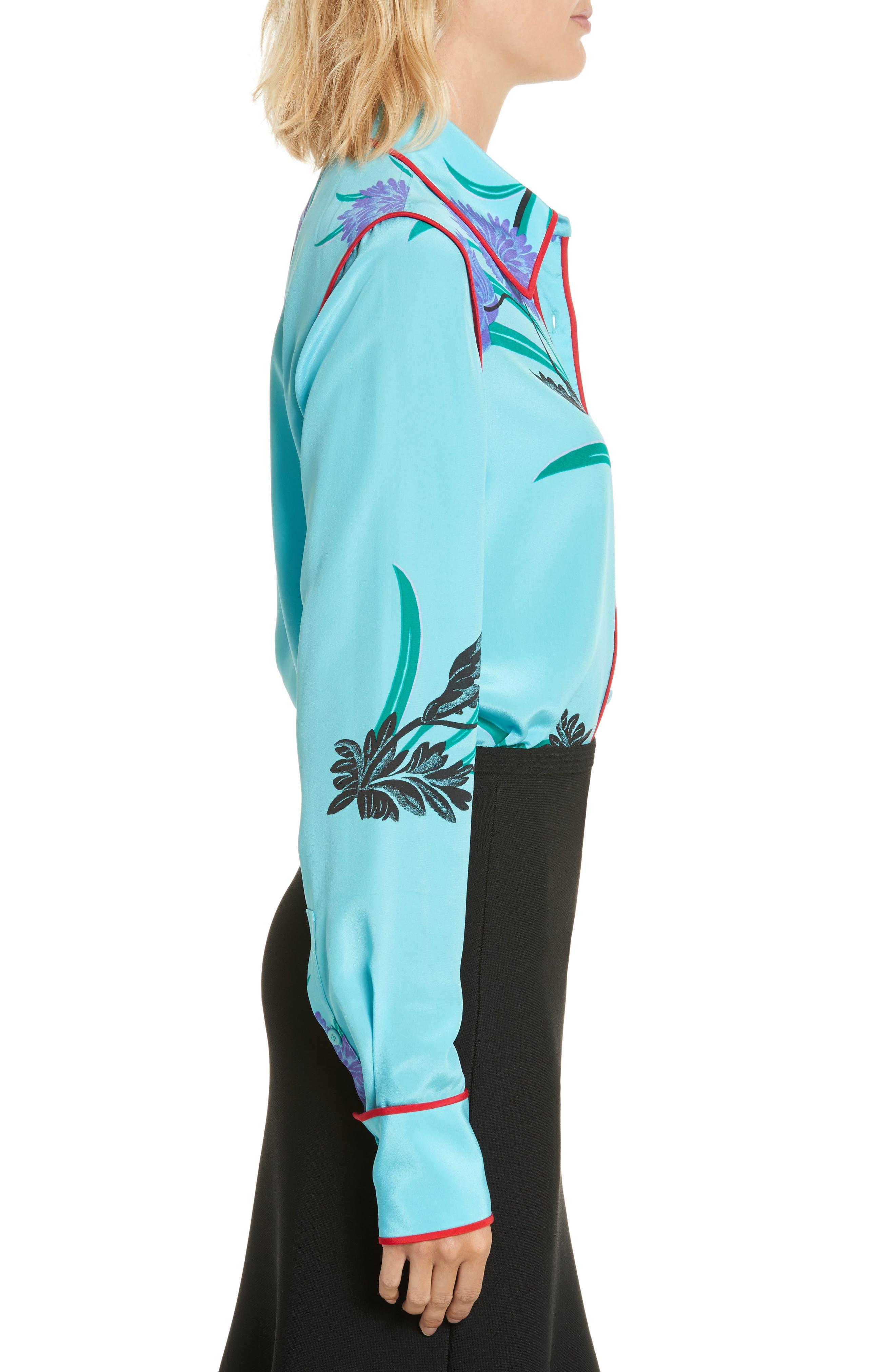 Floral Print Stretch Silk Shirt,                             Alternate thumbnail 3, color,                             Farren Marine