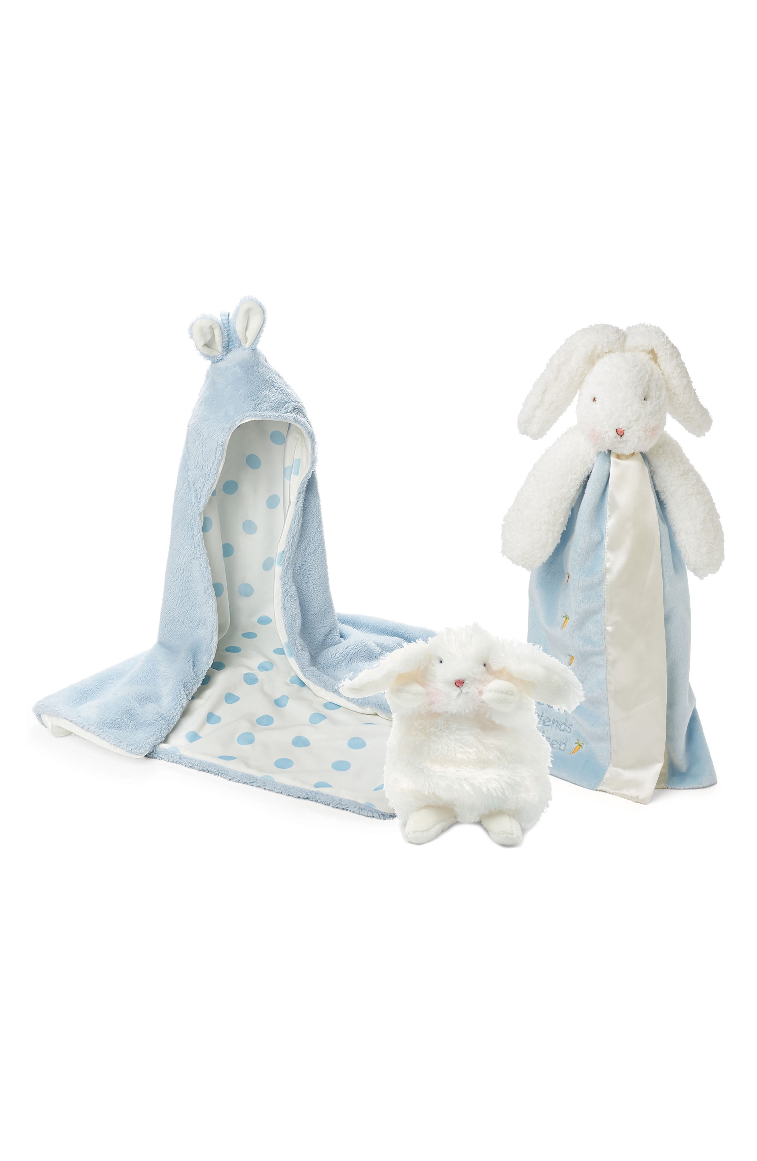 Bunnies by the Bay Hooded Blanket, Lovie & Stuffed Animal Set