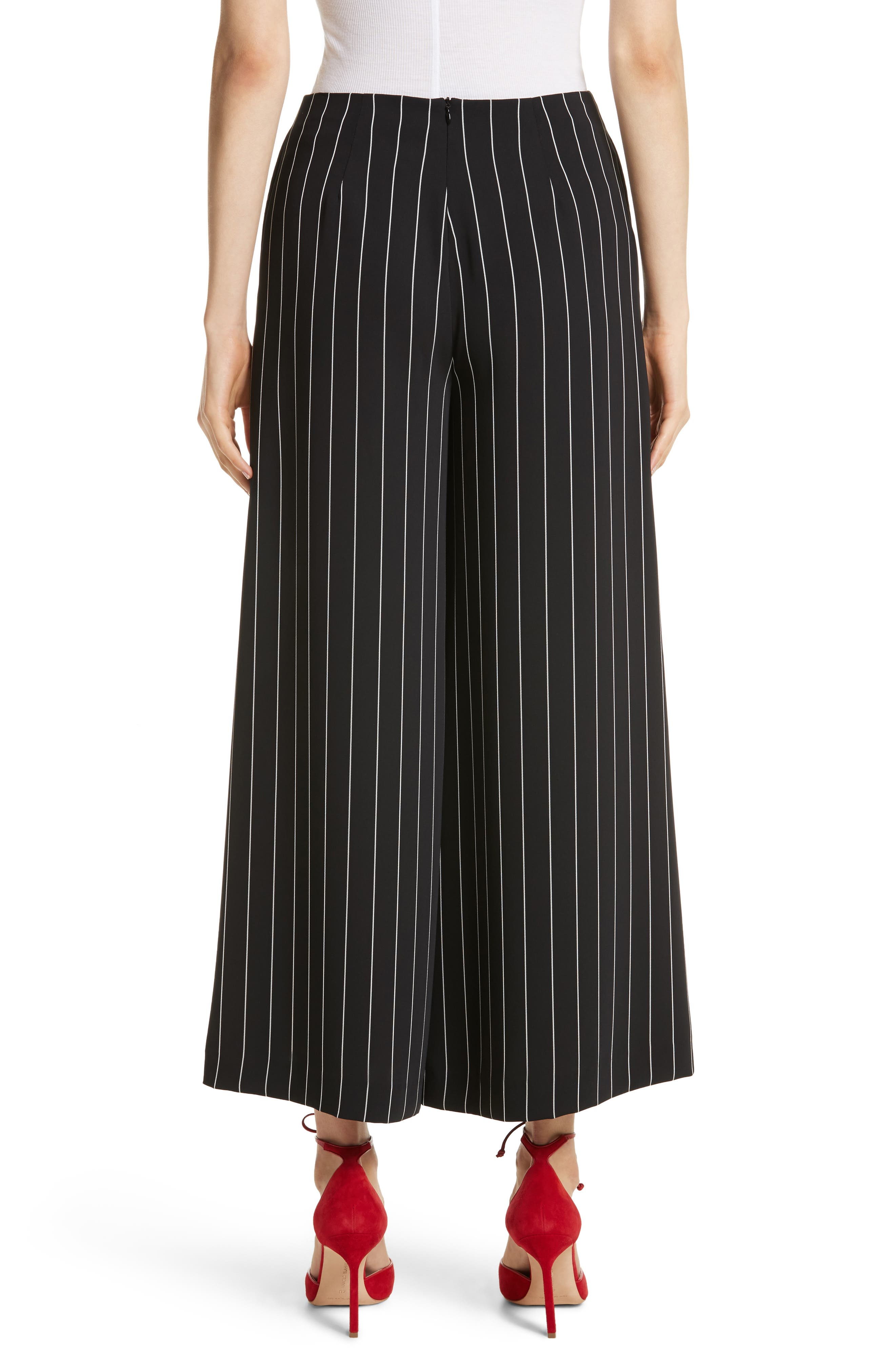 Wide Leg Stripe Trousers,                             Alternate thumbnail 2, color,                             Jet