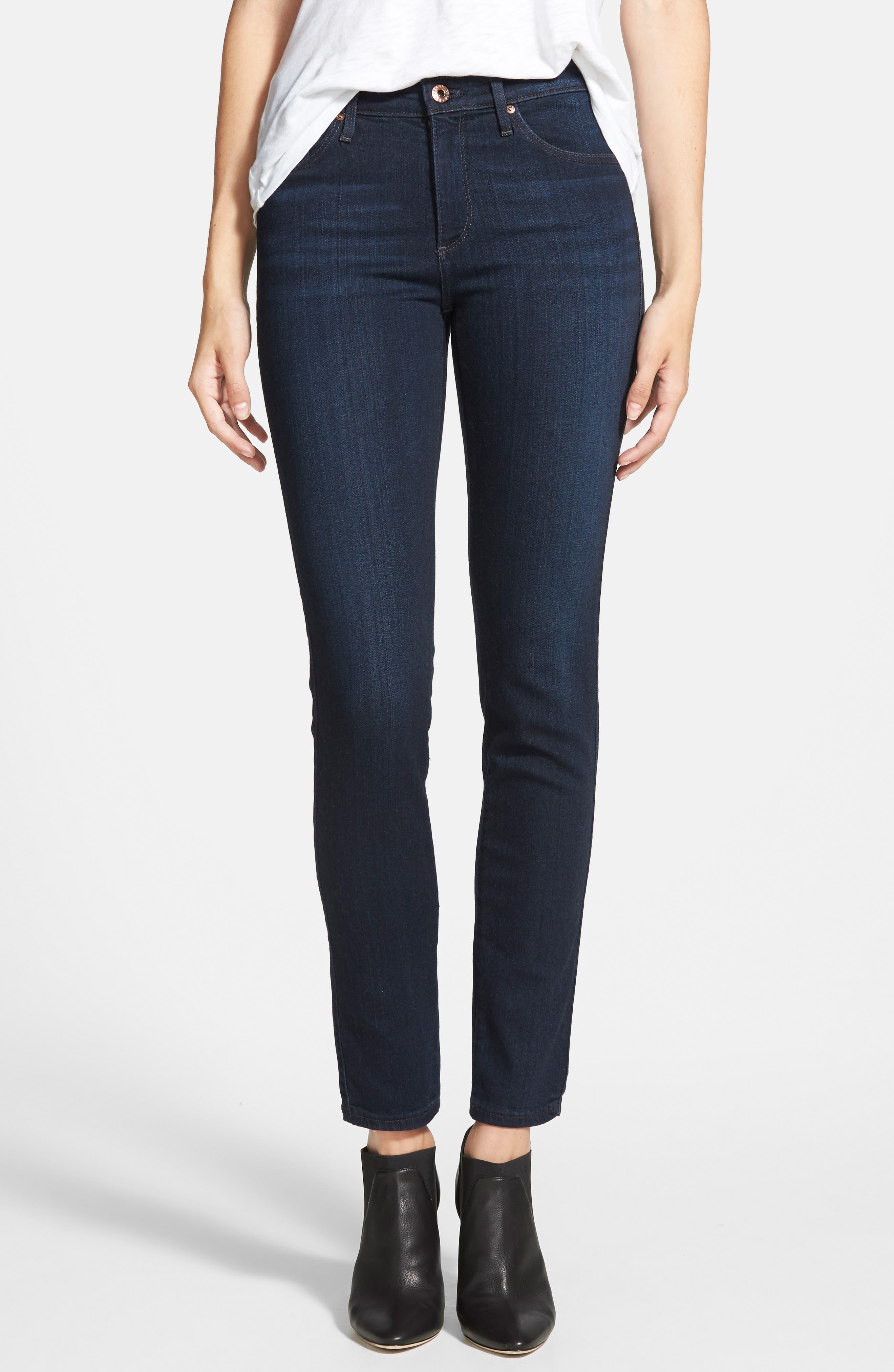 'Prima' Mid Rise Skinny Jeans,                             Main thumbnail 1, color,                             Jet Setter