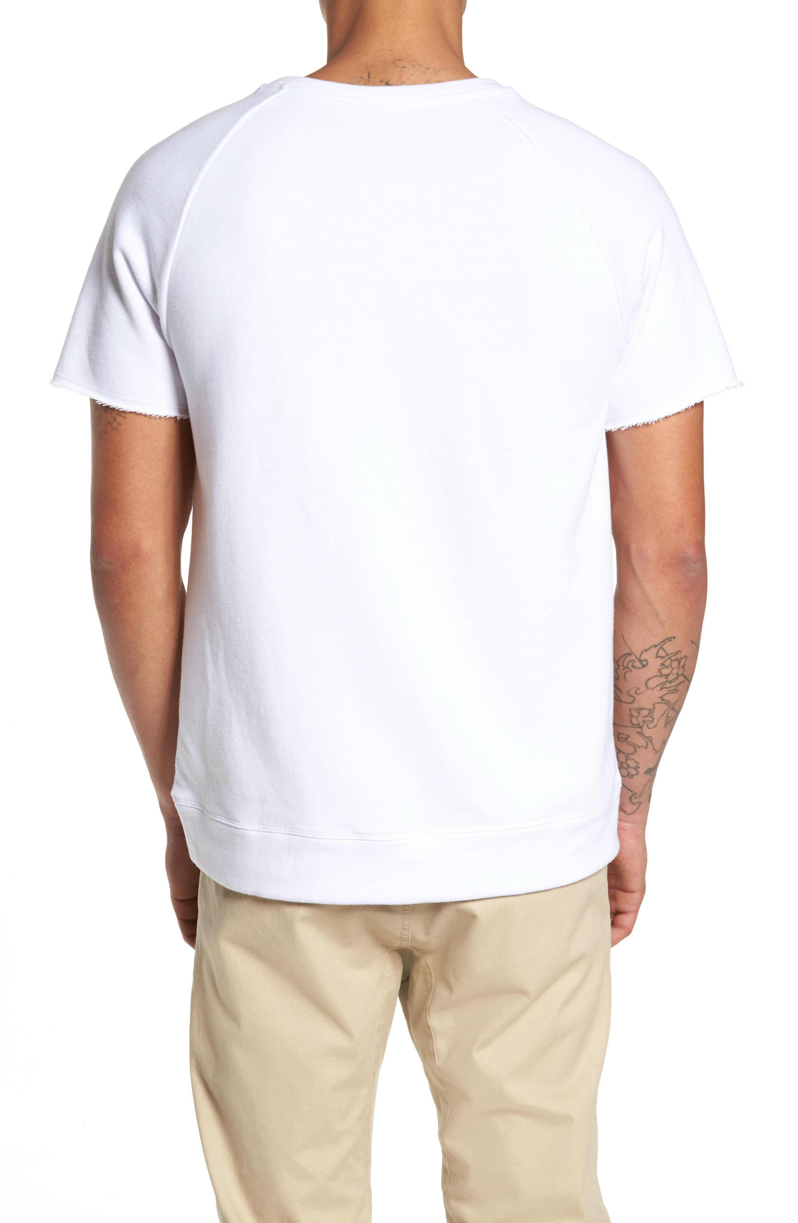 Raw Edge Raglan T-Shirt,                             Alternate thumbnail 2, color,                             White