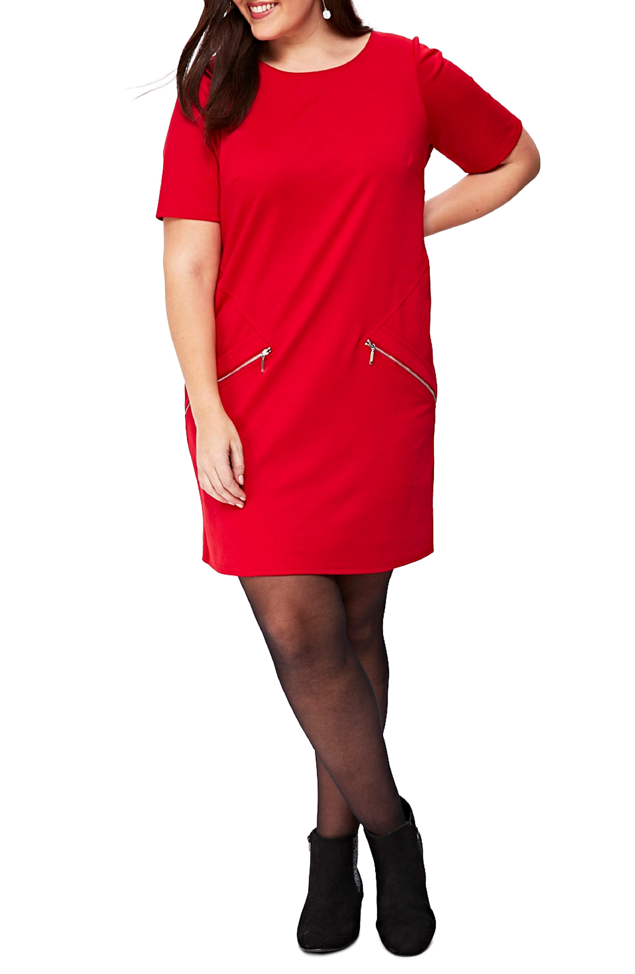 Ponte Knit Tunic Dress,                             Alternate thumbnail 5, color,                             Red