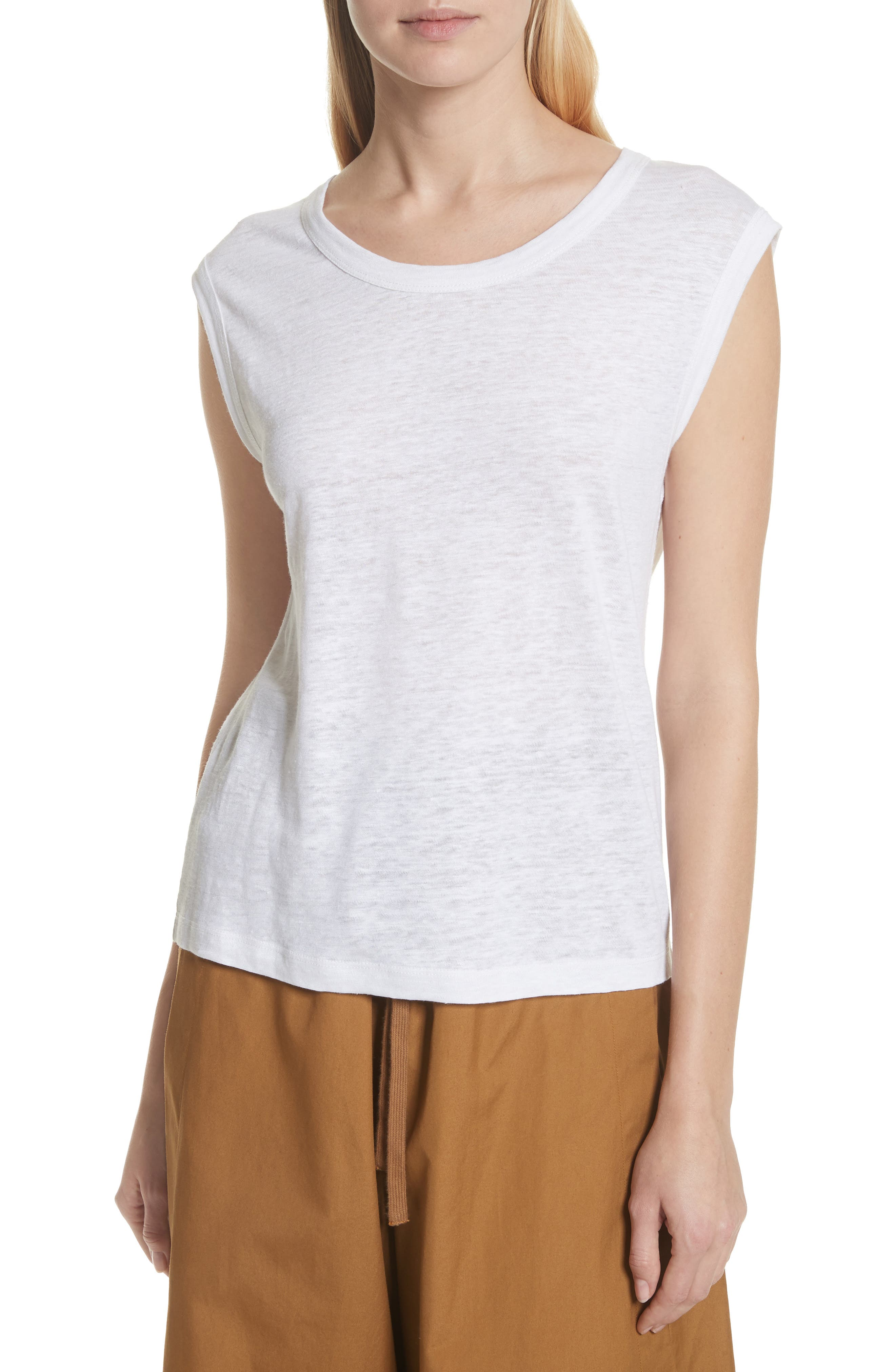 Linen Muscle Tank Top,                         Main,                         color, Optic White