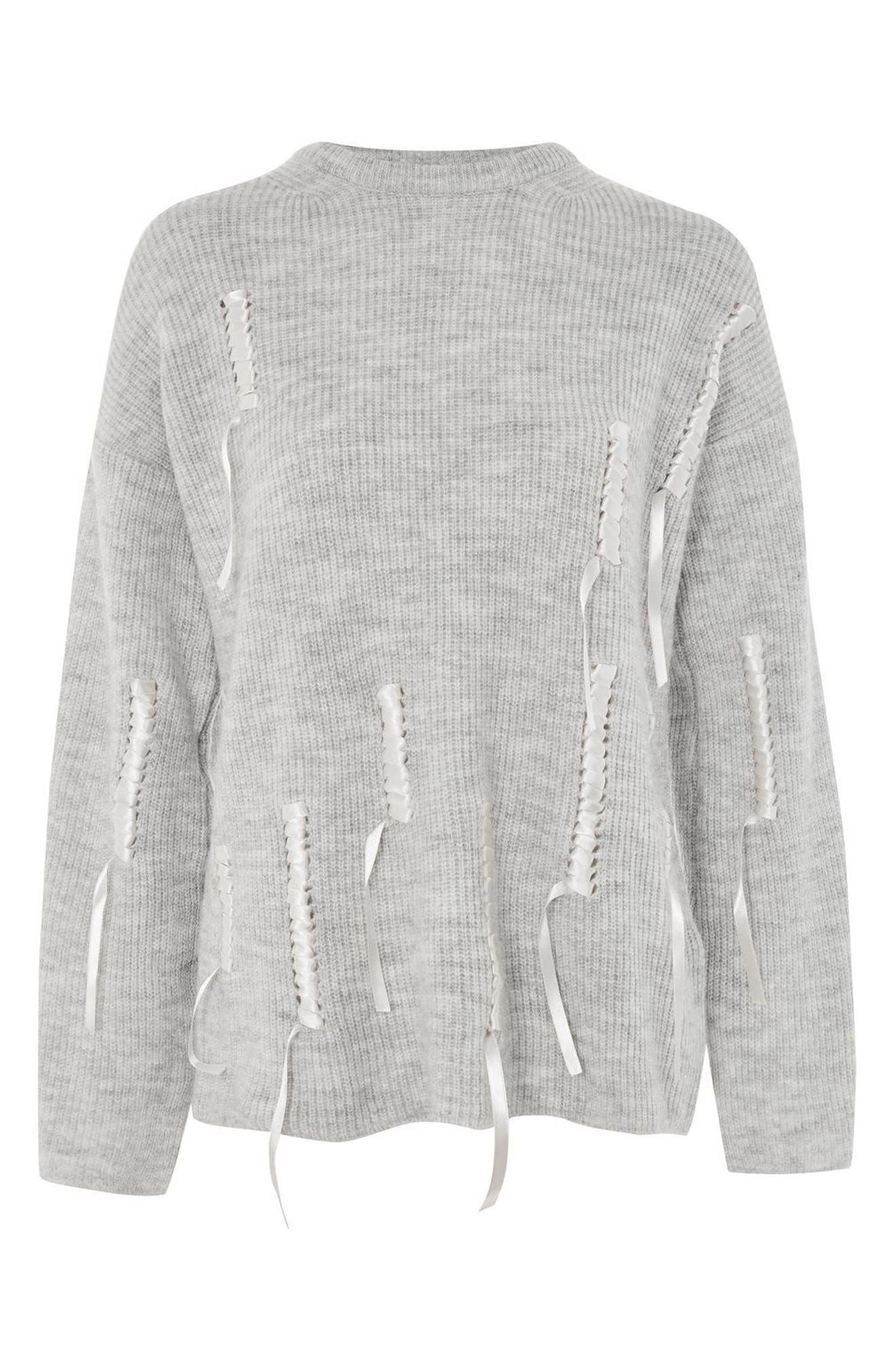 Ribbon Detail Sweater,                             Alternate thumbnail 4, color,                             Grey Marl