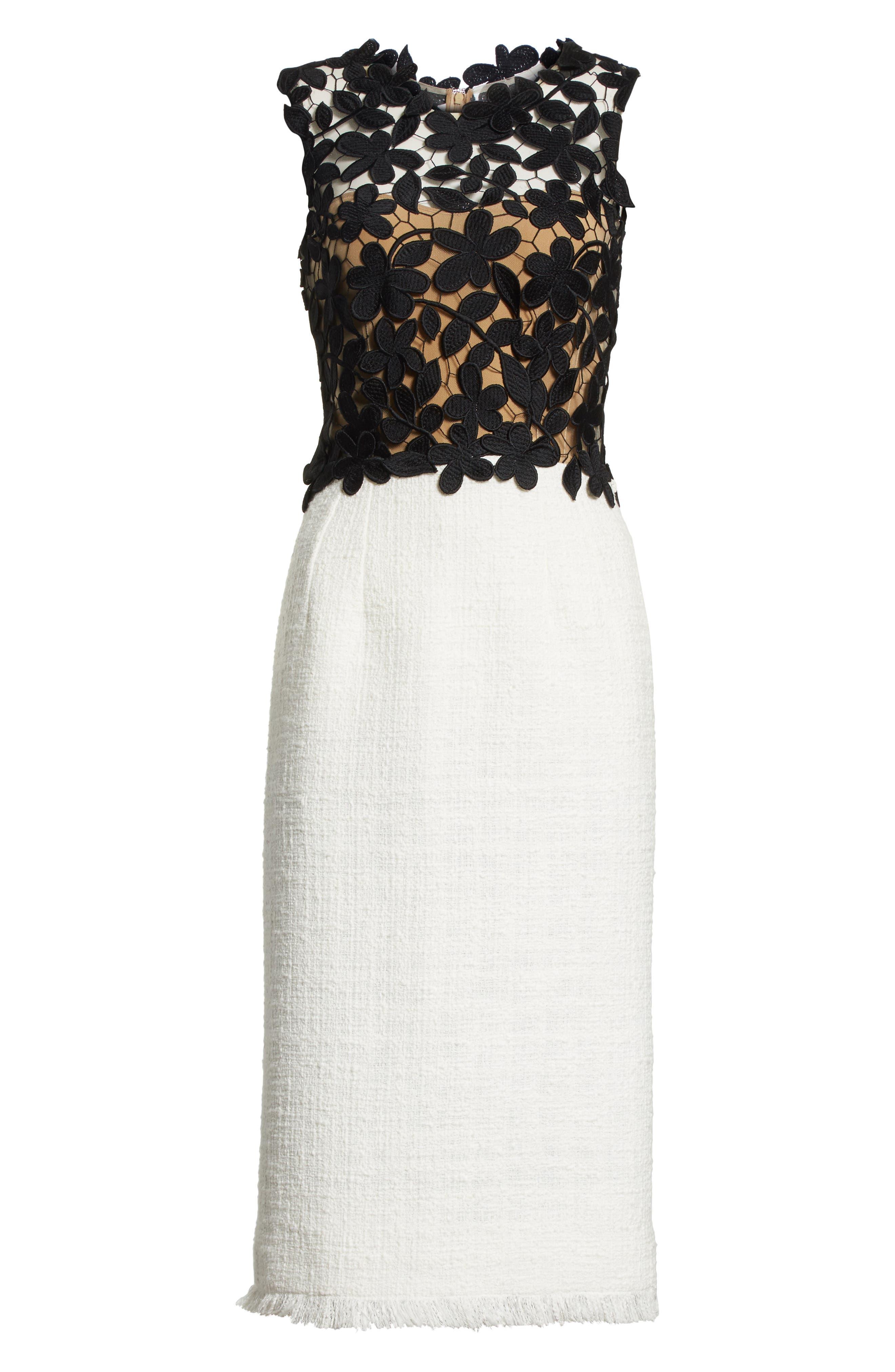 Lace Bodice Sheath Dress,                             Alternate thumbnail 7, color,                             Black/ White