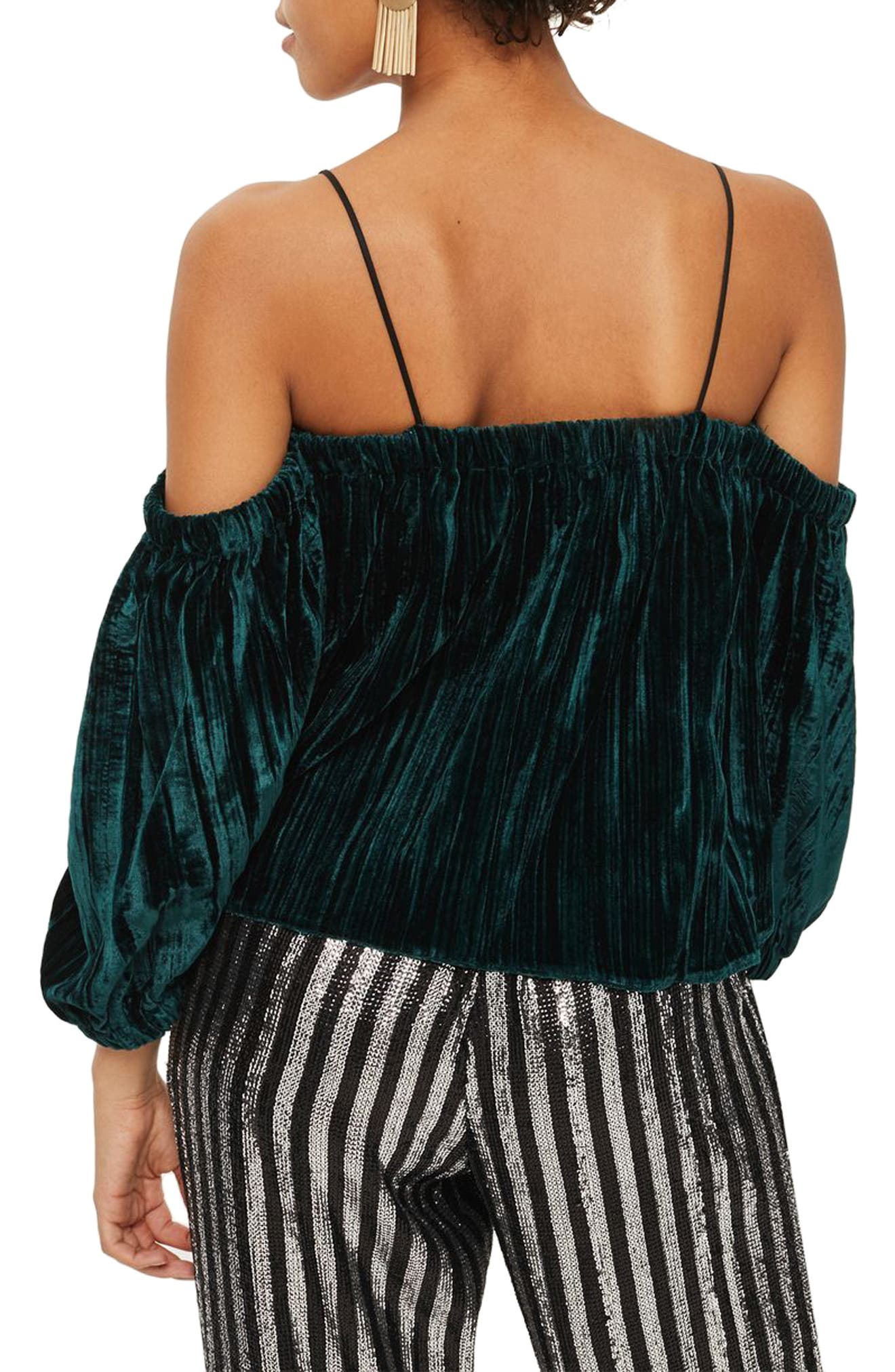 Cold Shoulder Velvet Top,                             Alternate thumbnail 2, color,                             Dark Green