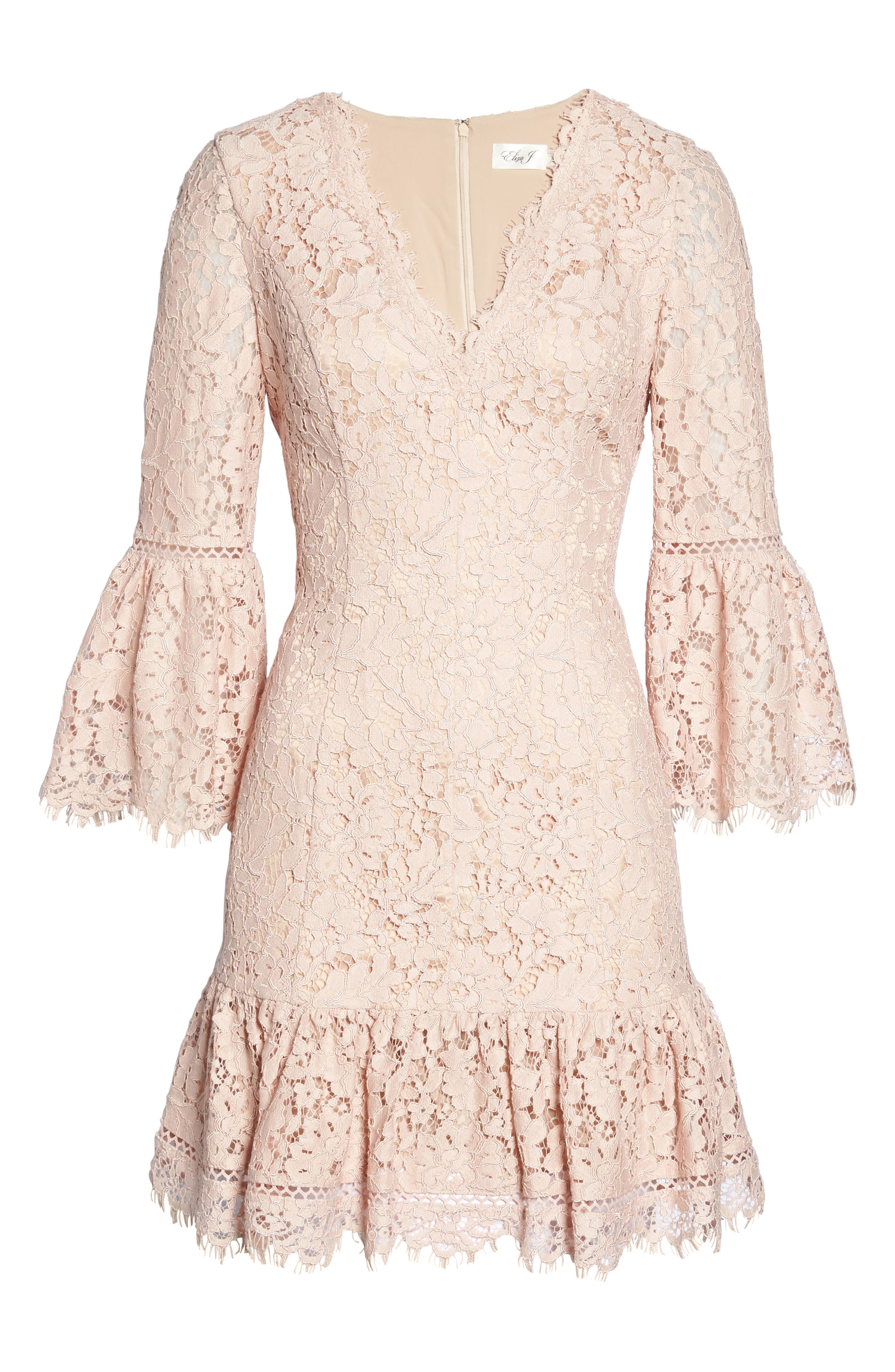 Bell Sleeve Lace Dress,                             Alternate thumbnail 5, color,                             Blush