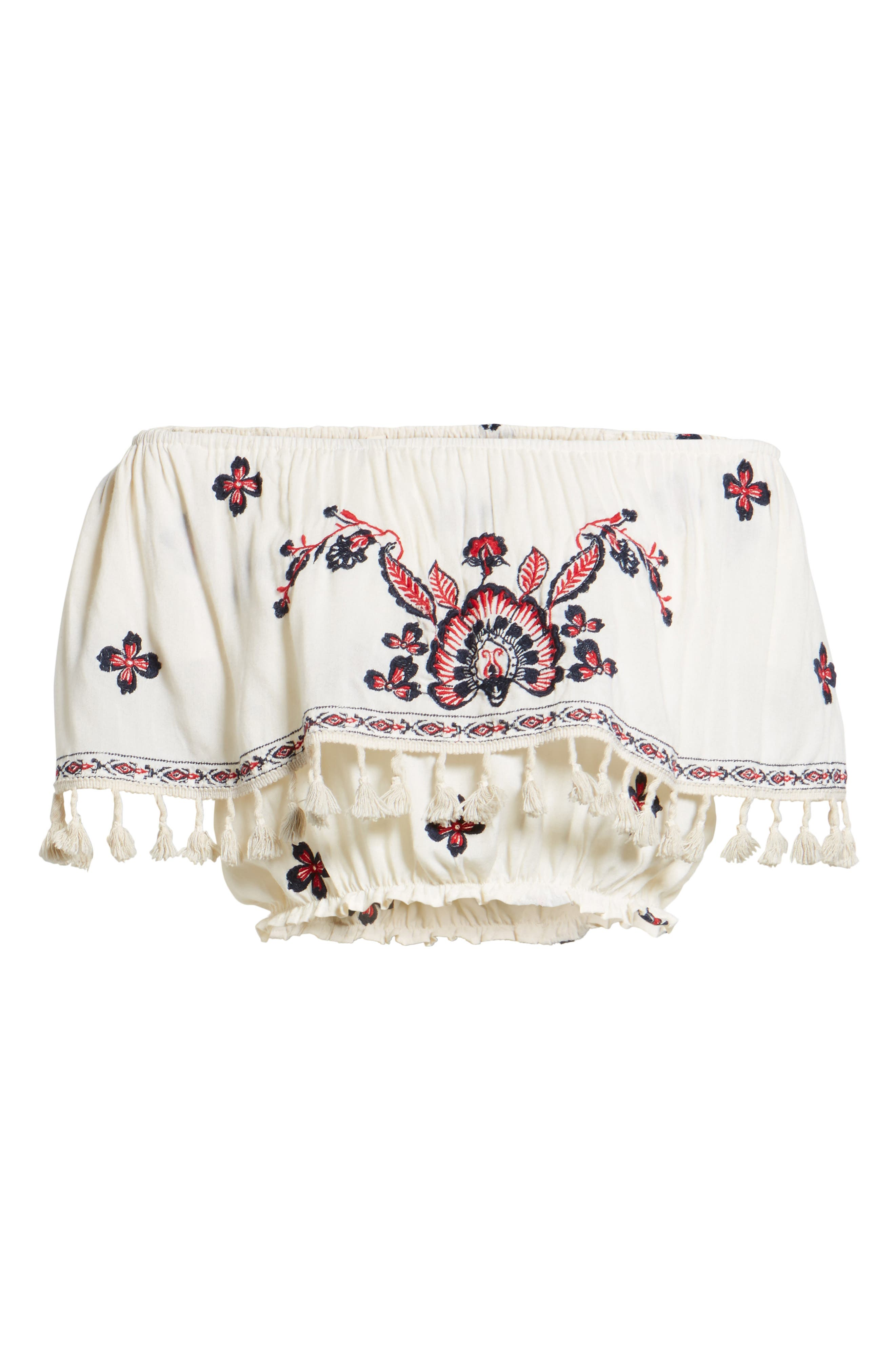 Tessi Embroidered Off the Shoulder Crop Top,                             Alternate thumbnail 6, color,                             Sugar Cookie