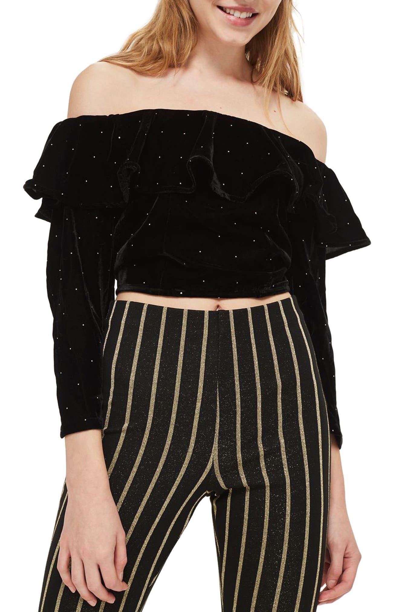 Main Image - Topshop Studded Off the Shoulder Velvet Top