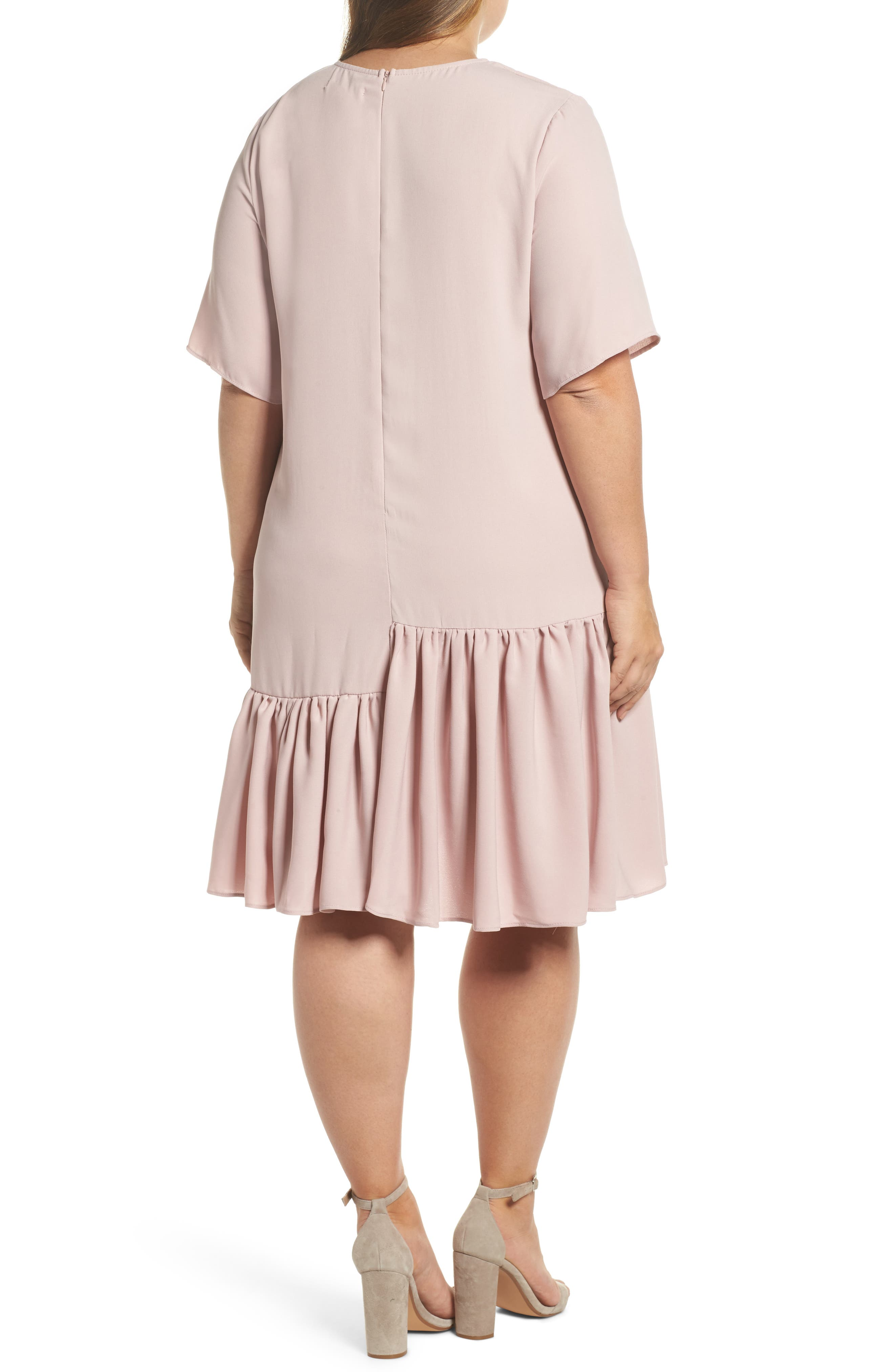 Alternate Image 2  - Glamorous Asymmetrical Ruffle Shift Dress (Plus Size)