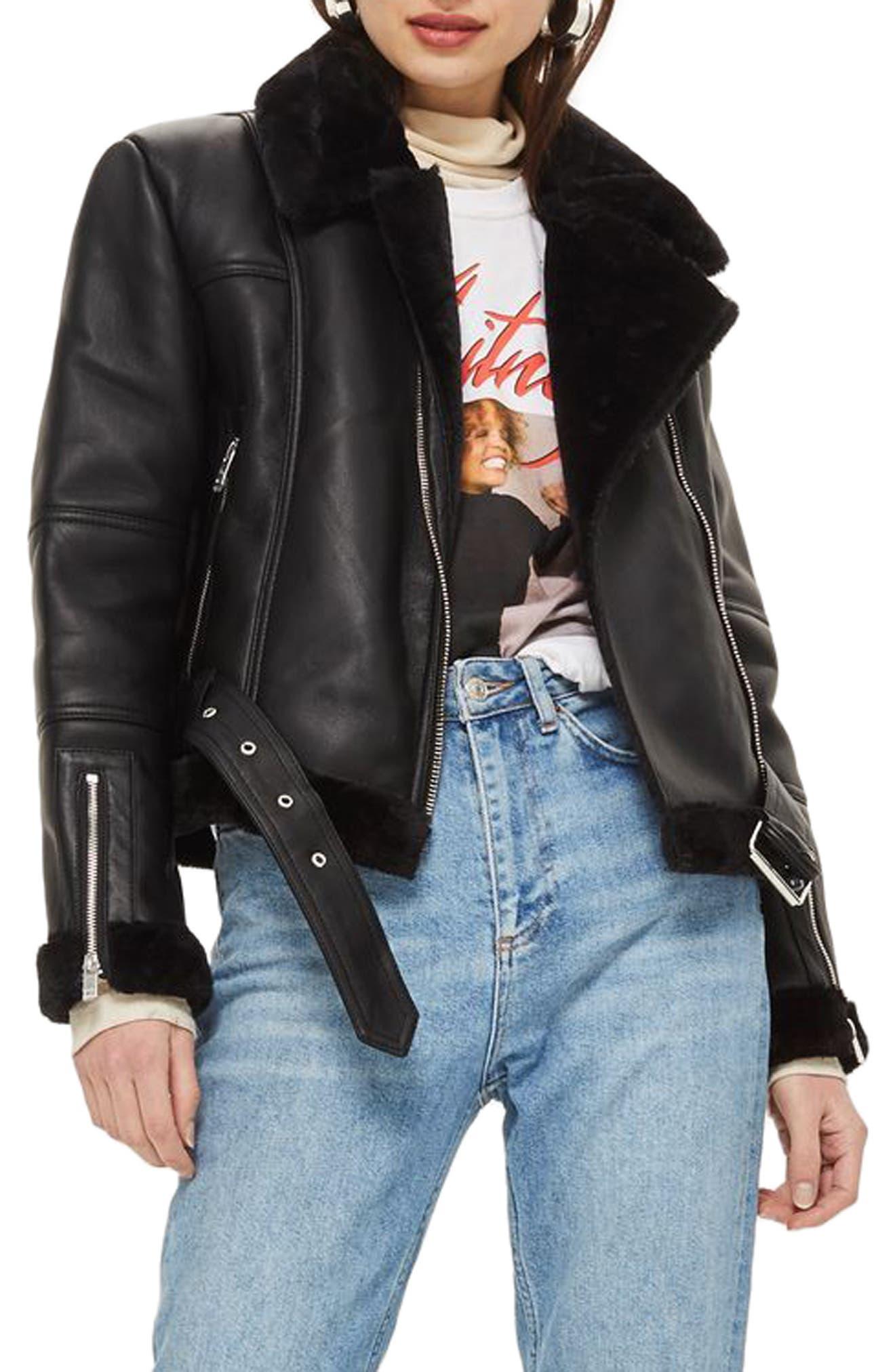Finsbury Cropped Faux Shearling Biker Jacket,                             Main thumbnail 1, color,                             Black