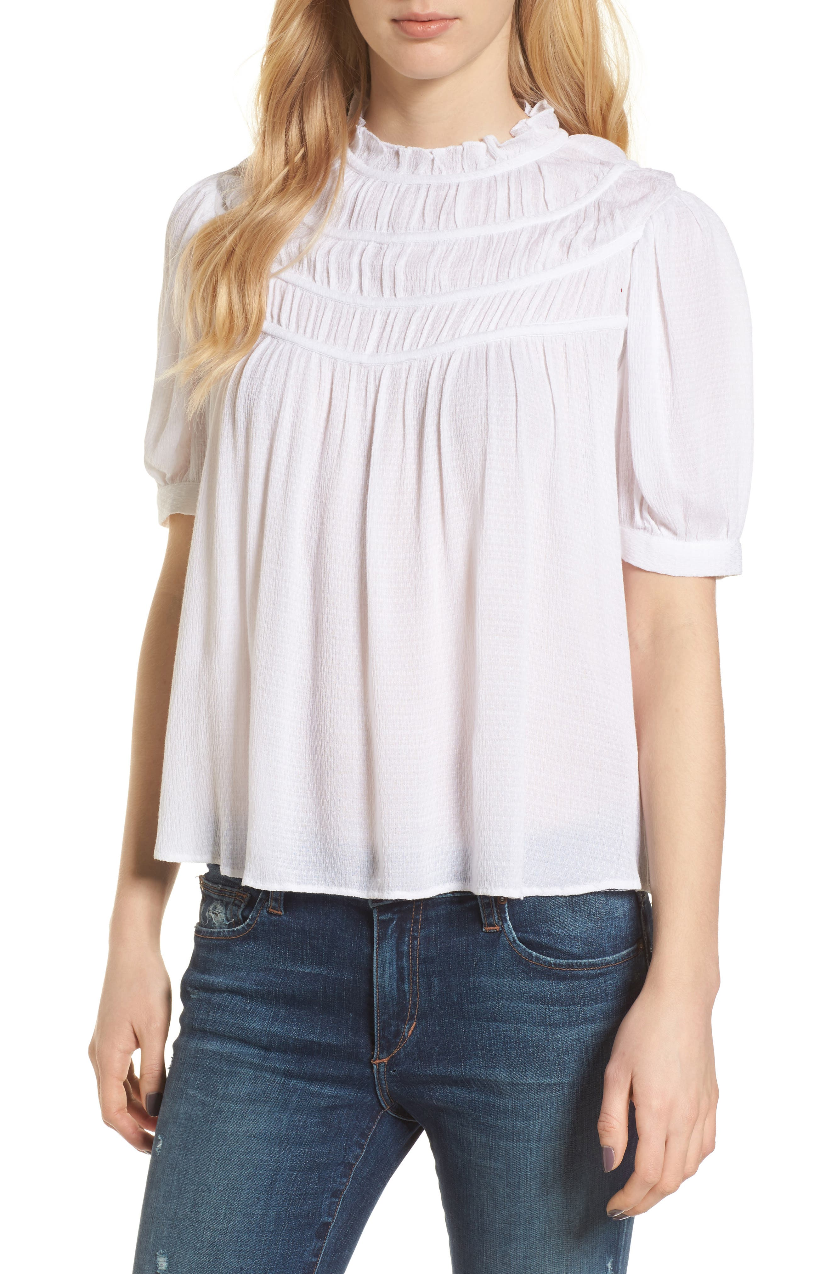 Ruched Puff Sleeve Top,                         Main,                         color, White