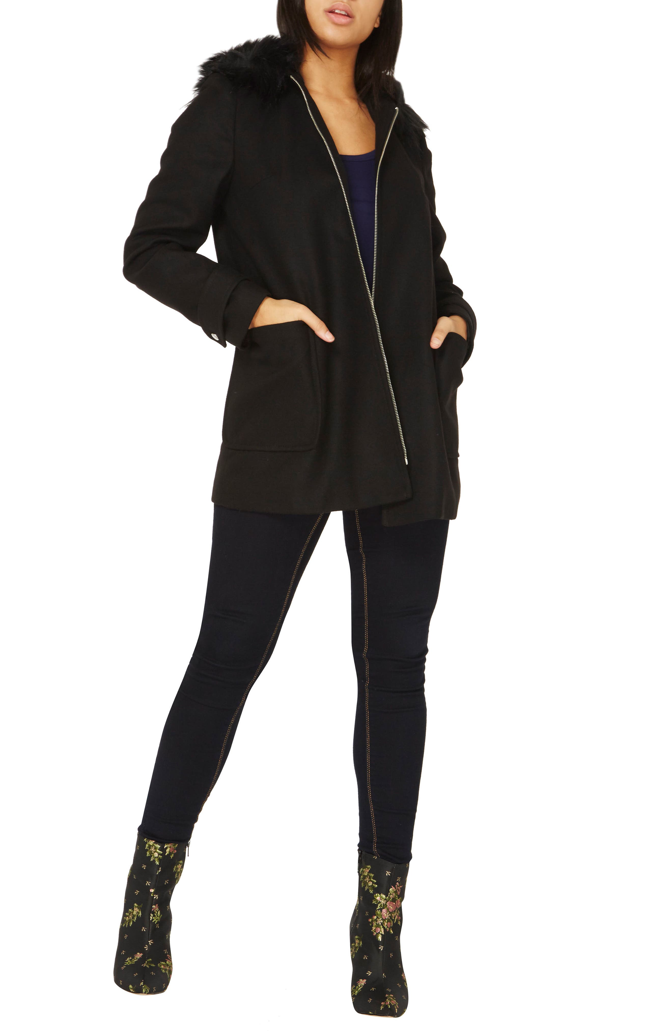 Hooded Duffle Coat with Faux Fur Trim,                             Alternate thumbnail 5, color,                             Black