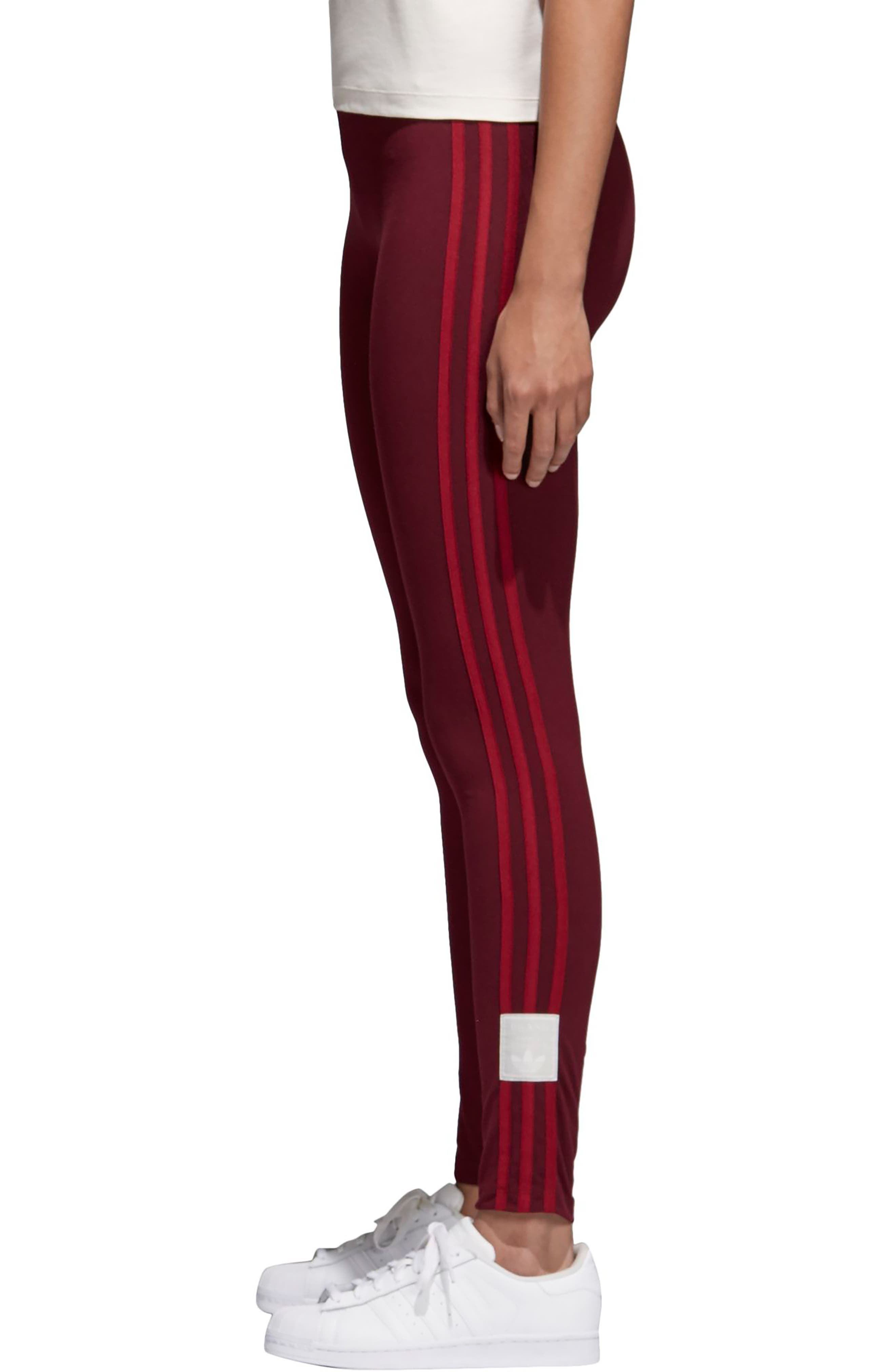 Originals Adibreak Tights,                             Alternate thumbnail 3, color,                             Maroon