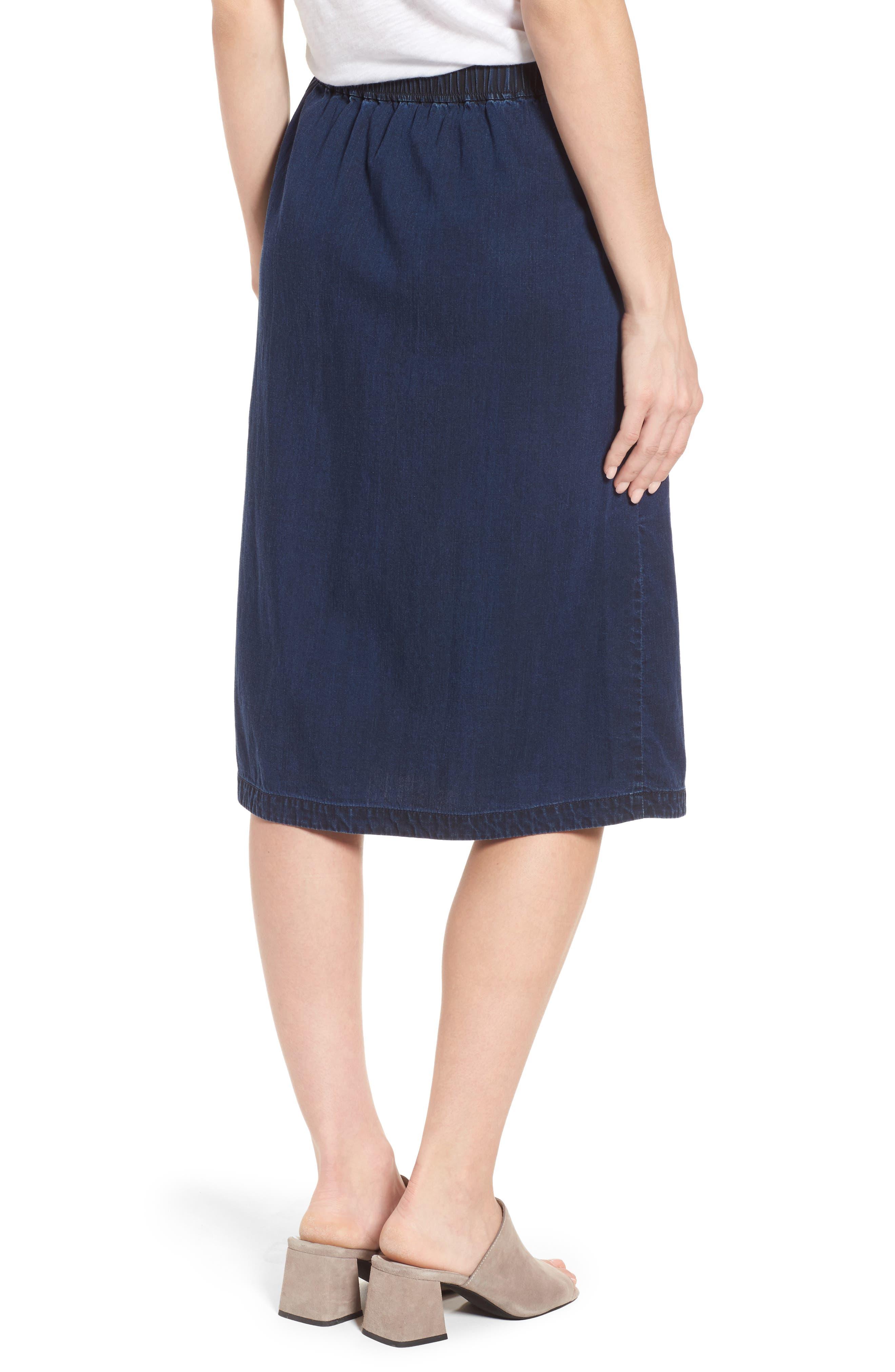 Faux Wrap Denim Skirt,                             Alternate thumbnail 2, color,                             Midnight