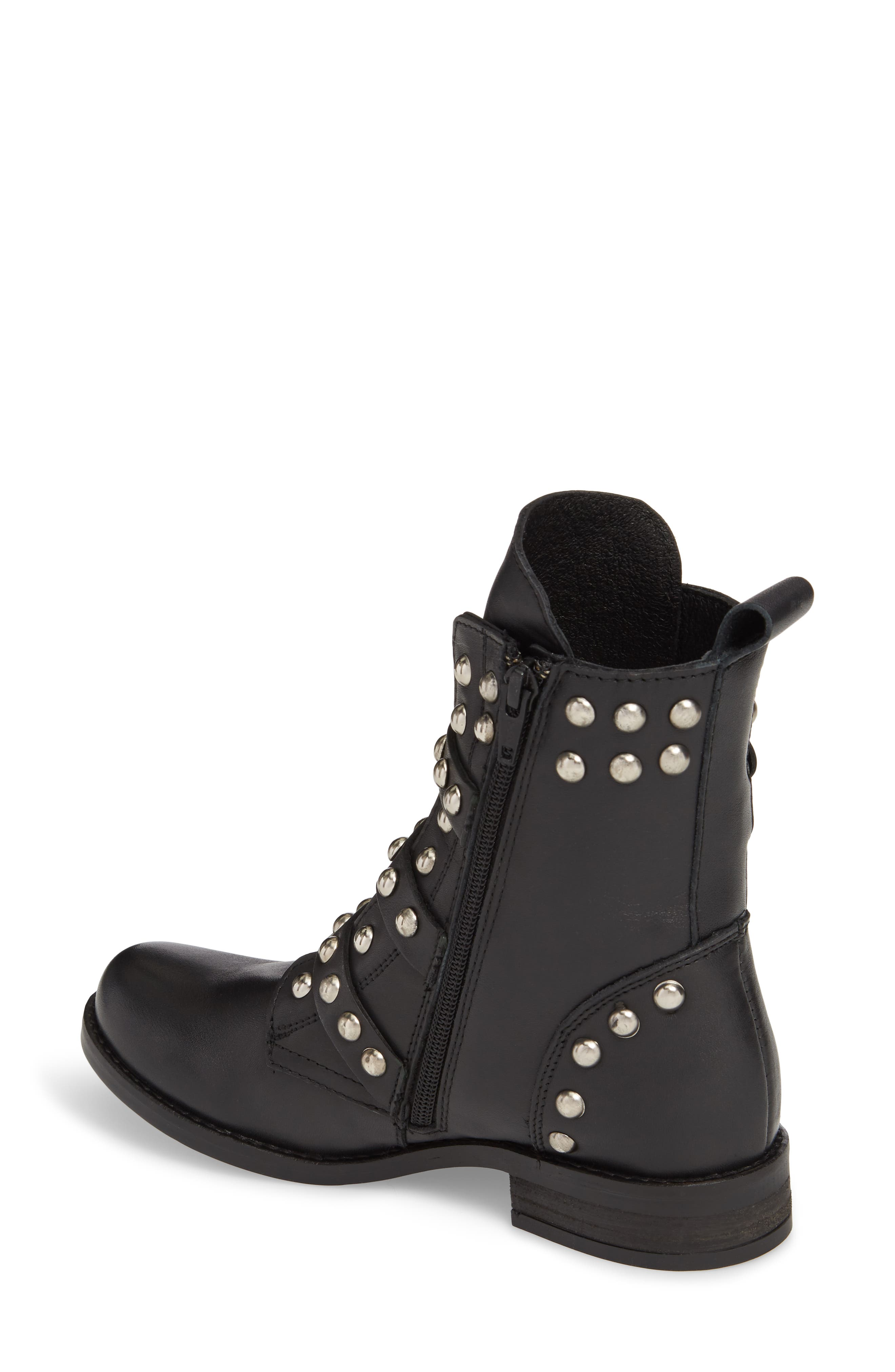 Studded Spunky Boot,                             Alternate thumbnail 2, color,                             Black Leather