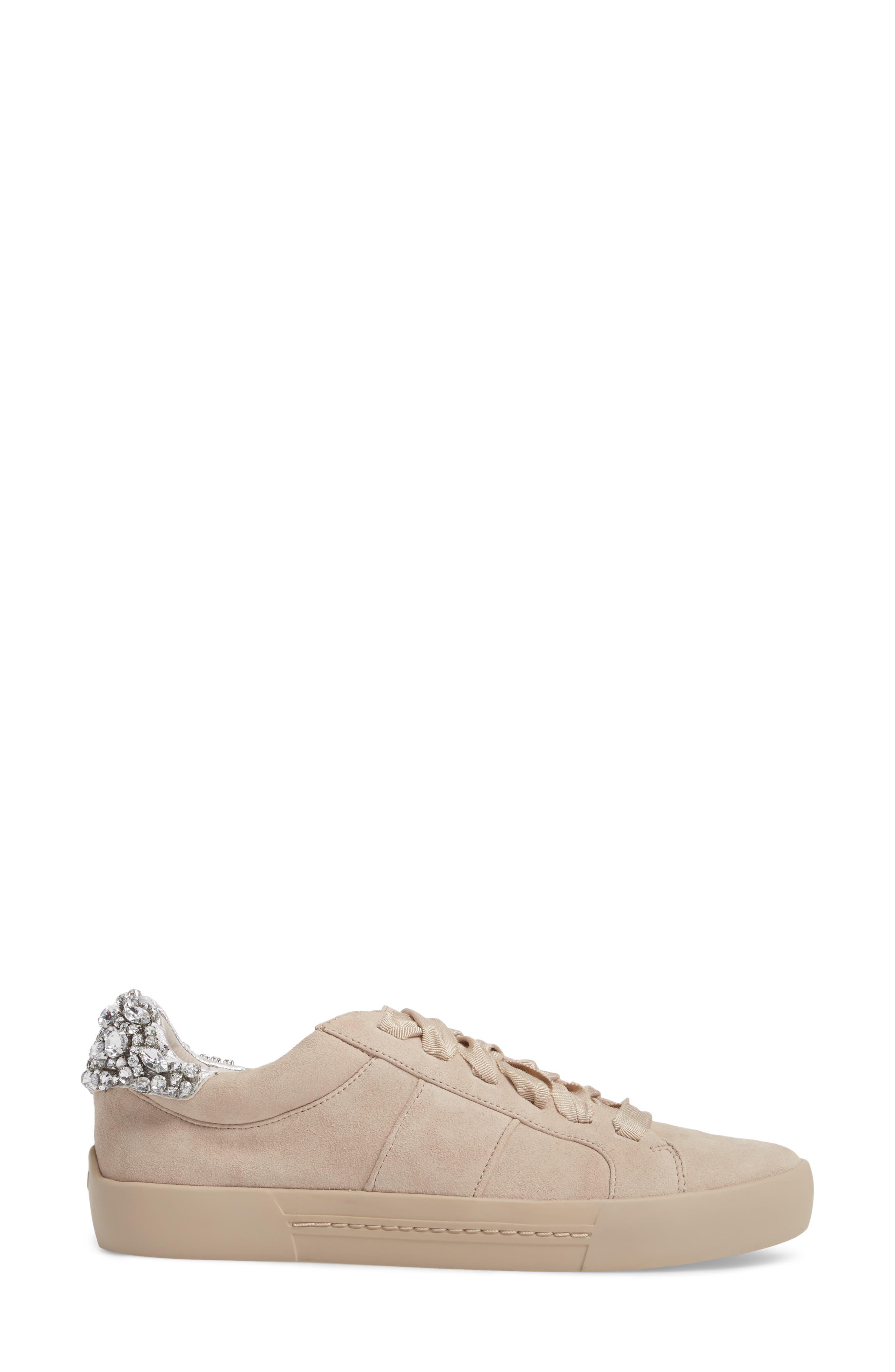 Darena Crystal Embellished Sneaker,                             Alternate thumbnail 3, color,                             Fog