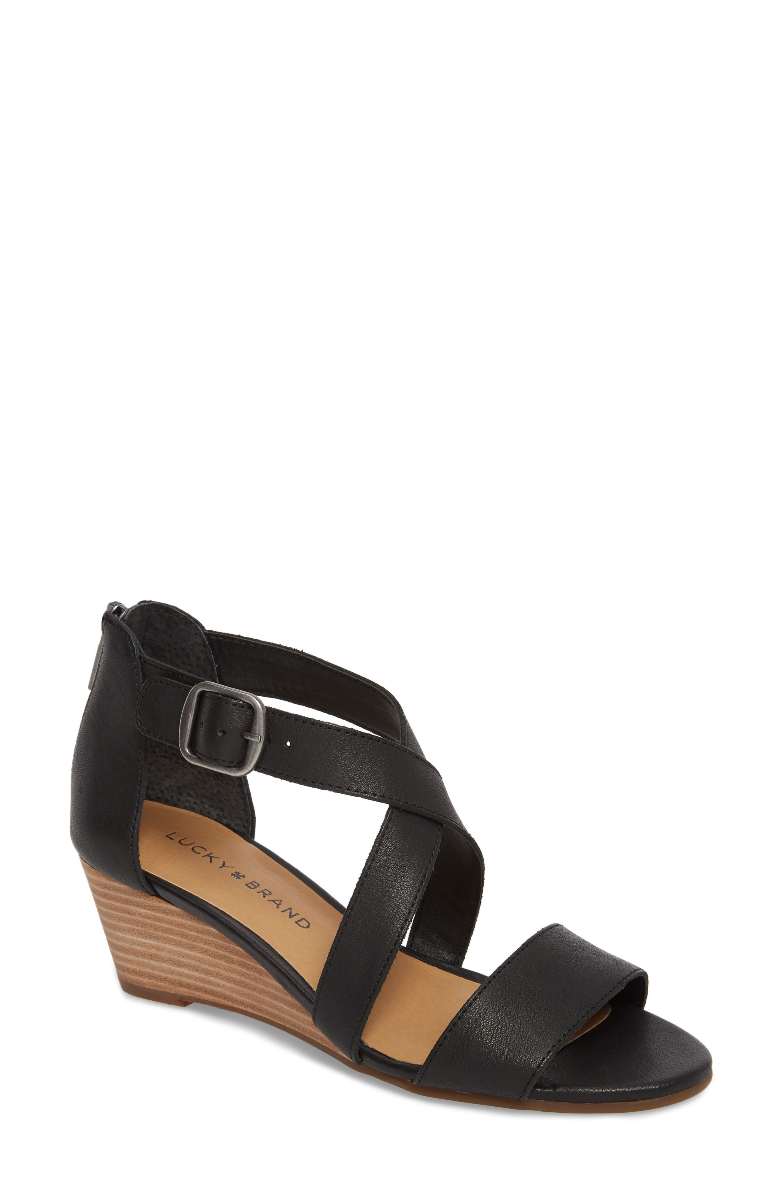 Jestah Wedge Sandal,                         Main,                         color, Black Leather