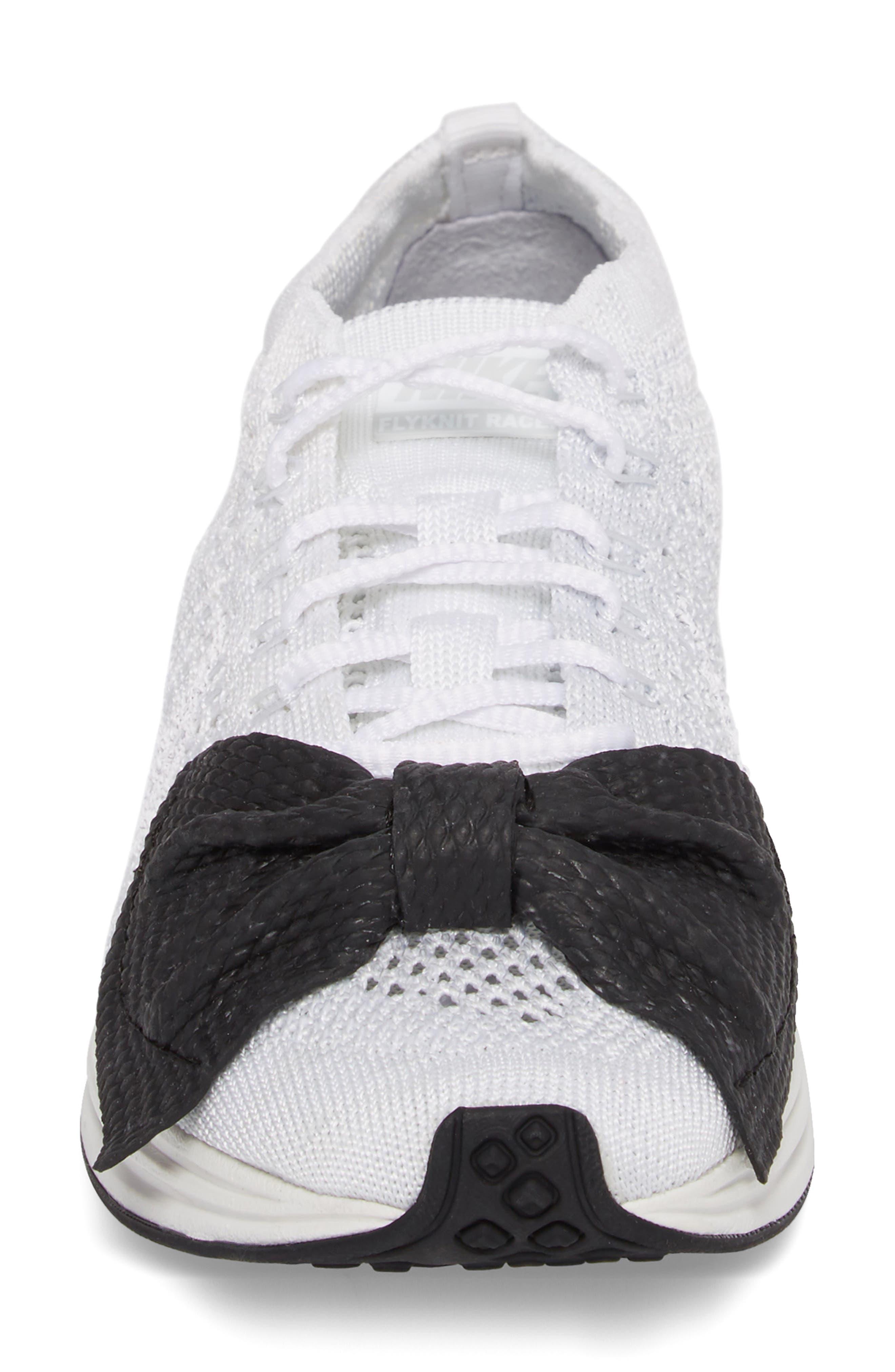 x Nike Bow Flyknit Racer Sneaker,                             Alternate thumbnail 4, color,                             White