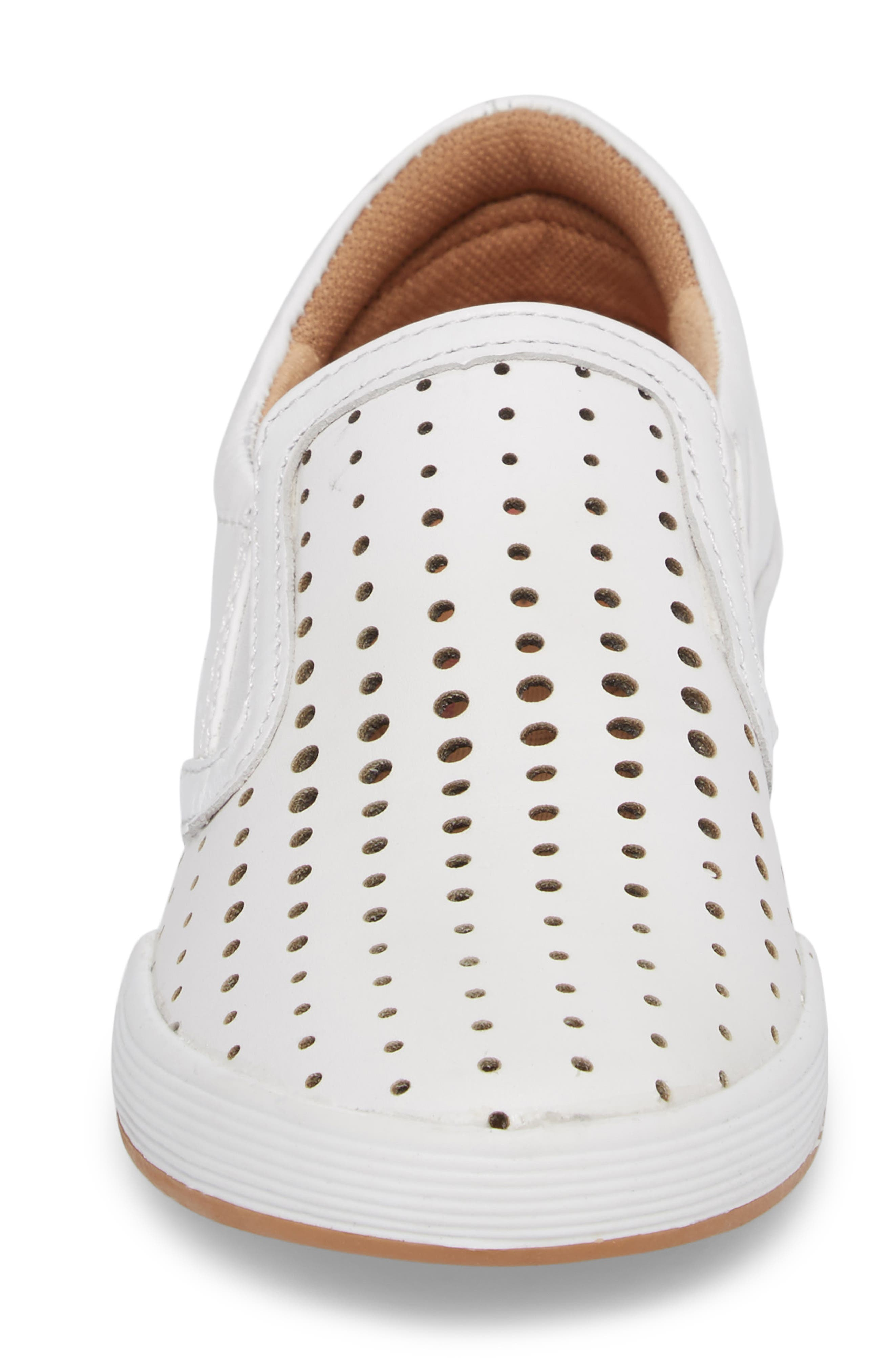 Lyra Perforated Slip-On Sneaker,                             Alternate thumbnail 4, color,                             White Leather